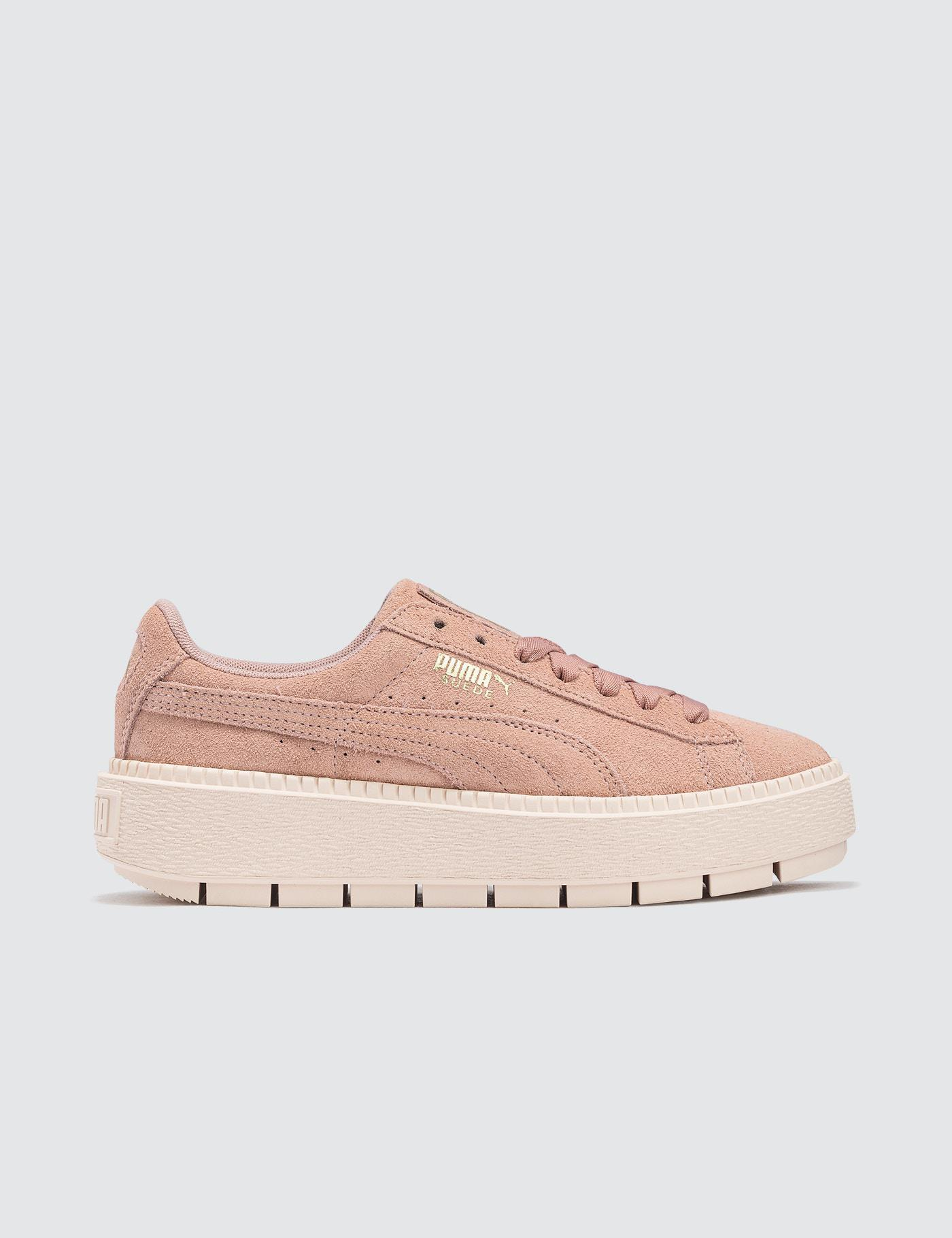 a0d4b82a2205 Lyst - Puma Suede Platform Trace in Pink