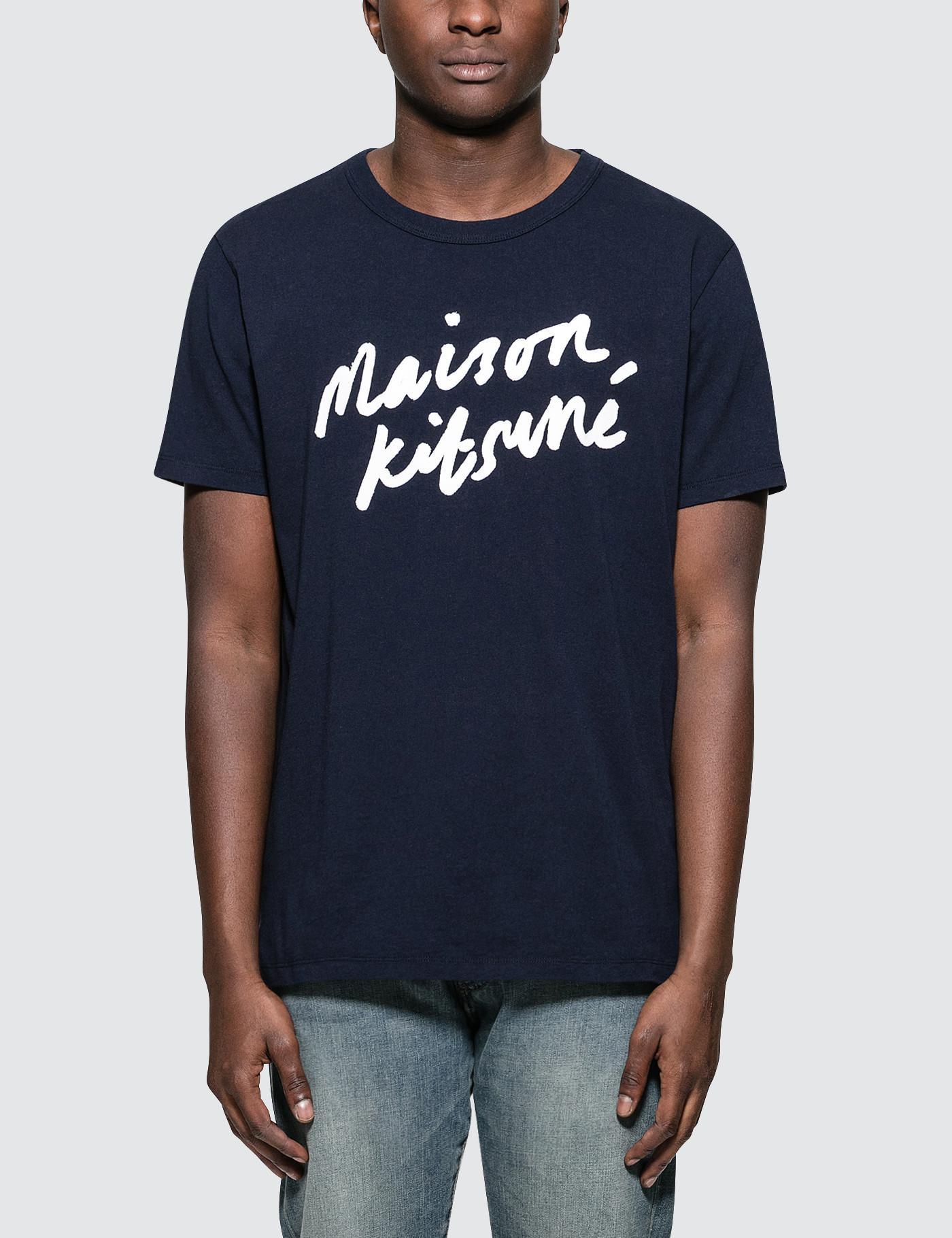 7708de825db3 Maison Kitsuné Handwriting S s T-shirt in Blue for Men - Lyst