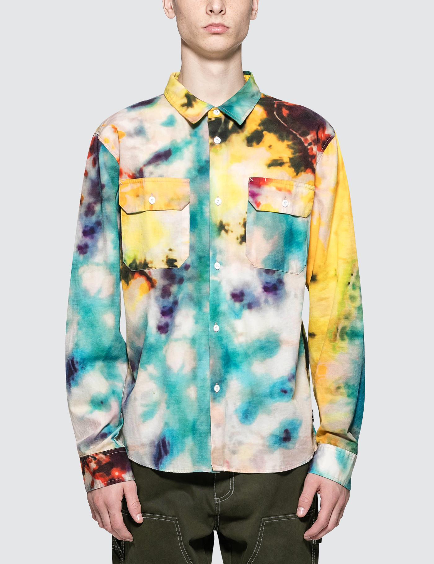 94ddfb6bd2d Stussy Tie Dye Work L s Shirt in Yellow for Men - Lyst