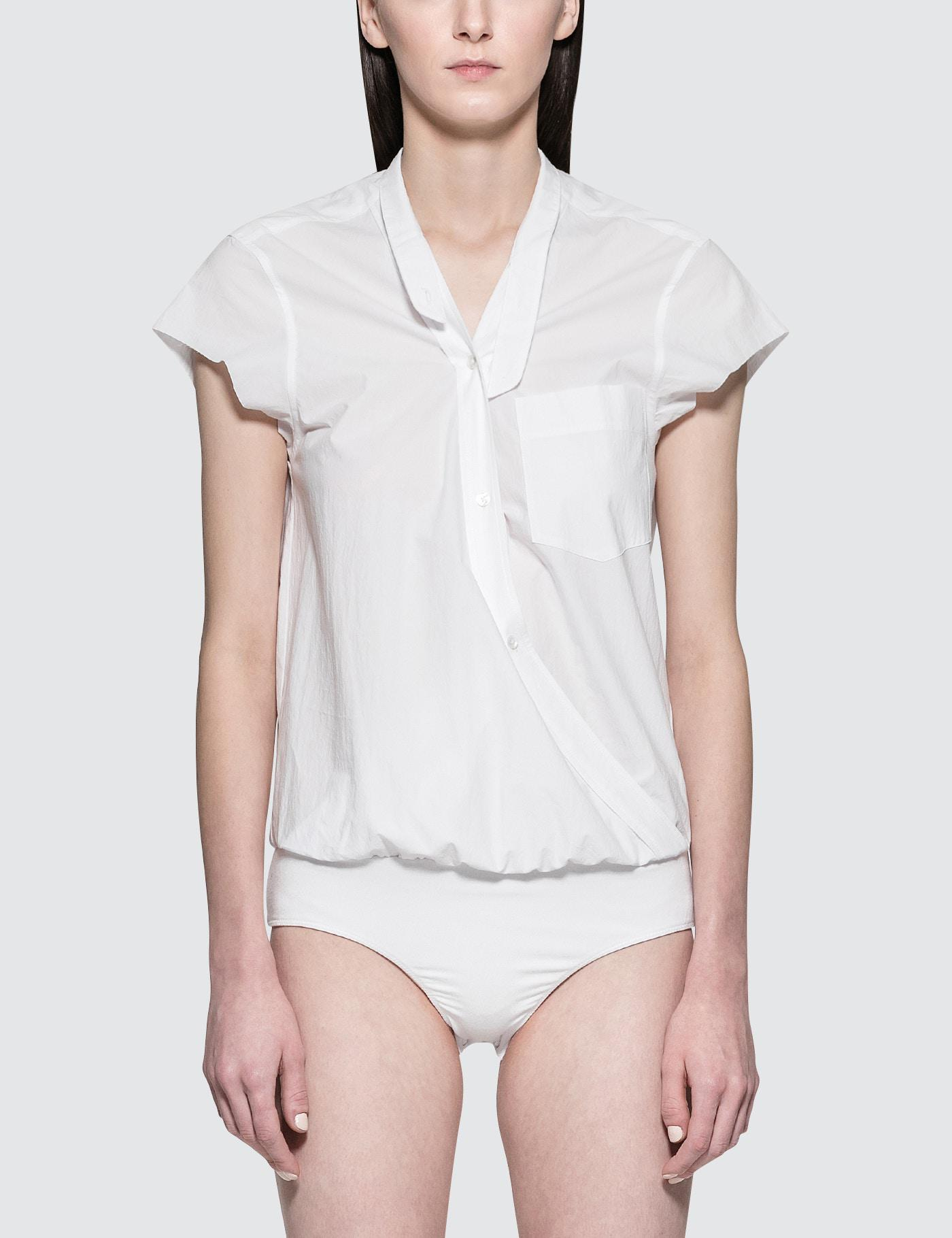a1936d02dd Alexander Wang Washed Cotton Poplin Bodysuit With V-neck in White - Lyst