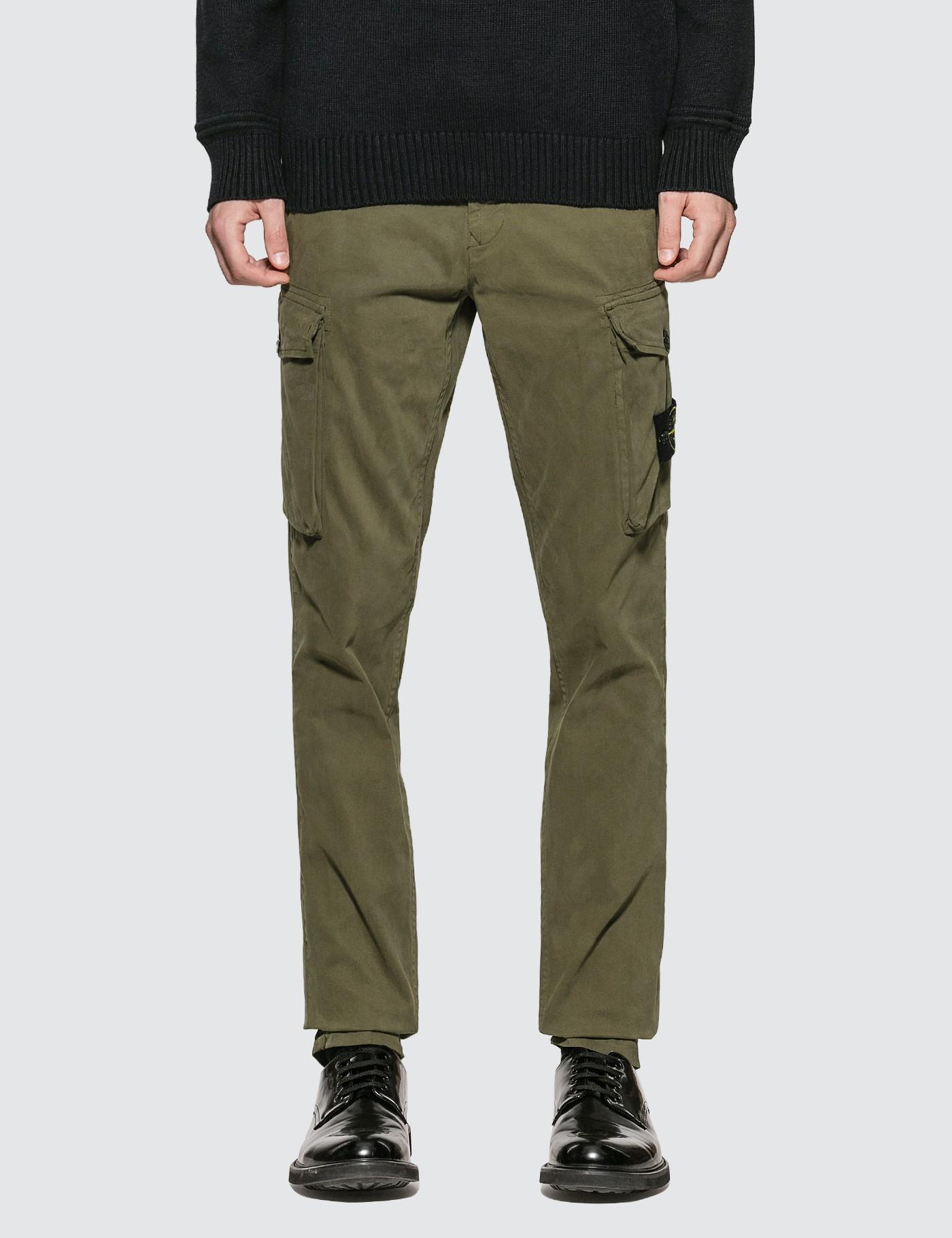 Stone Island Cotton Slim Fit Cargo Pants in Green for Men ...
