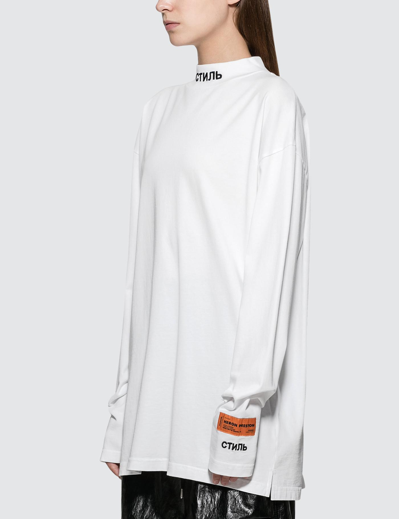 0b5297c450f Heron Preston Ctnmb Turtle-neck Long Sleeve T-shirt in White - Lyst