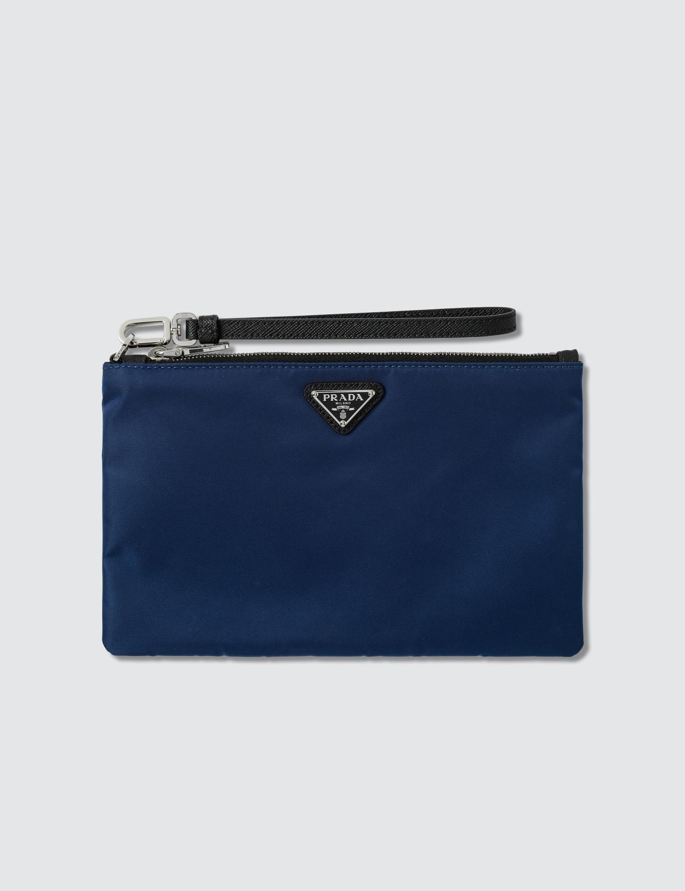 Prada - Blue Logo Small Pouch for Men - Lyst. View fullscreen 1e66c5b59a870