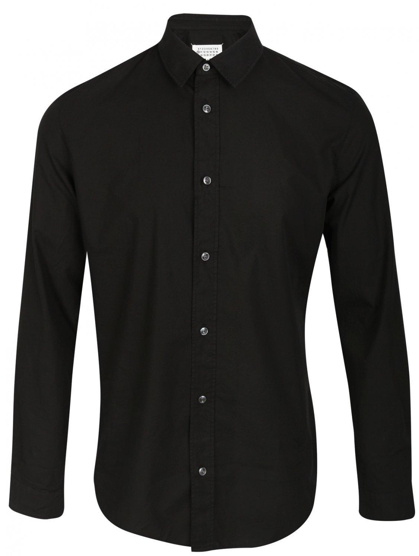 Lyst maison margiela classic black button down cotton for Preppy button down shirts