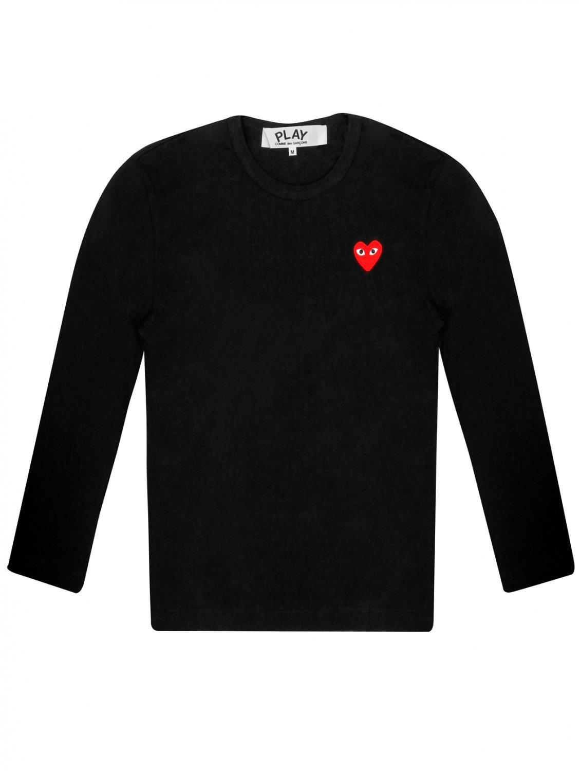 comme des gar ons play womens red heart t shirt black in. Black Bedroom Furniture Sets. Home Design Ideas