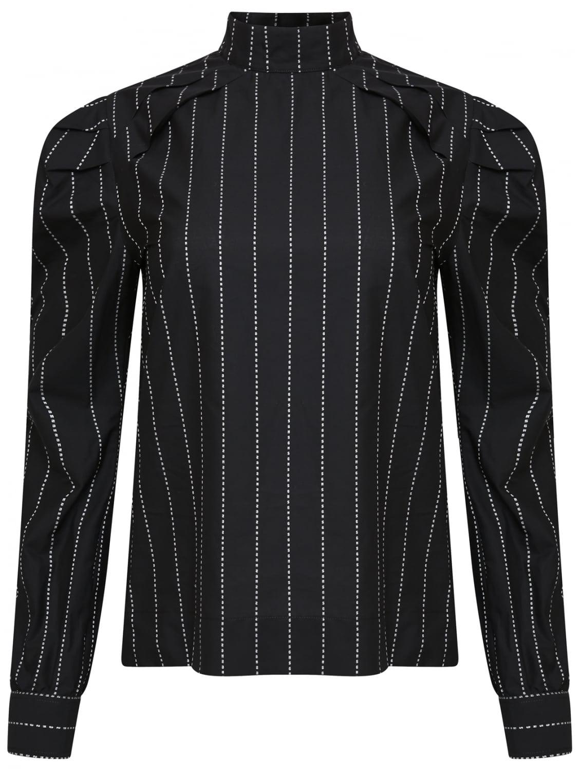 Lyst msgm open tie back l s shirt black in black for men for How to make a tie back shirt