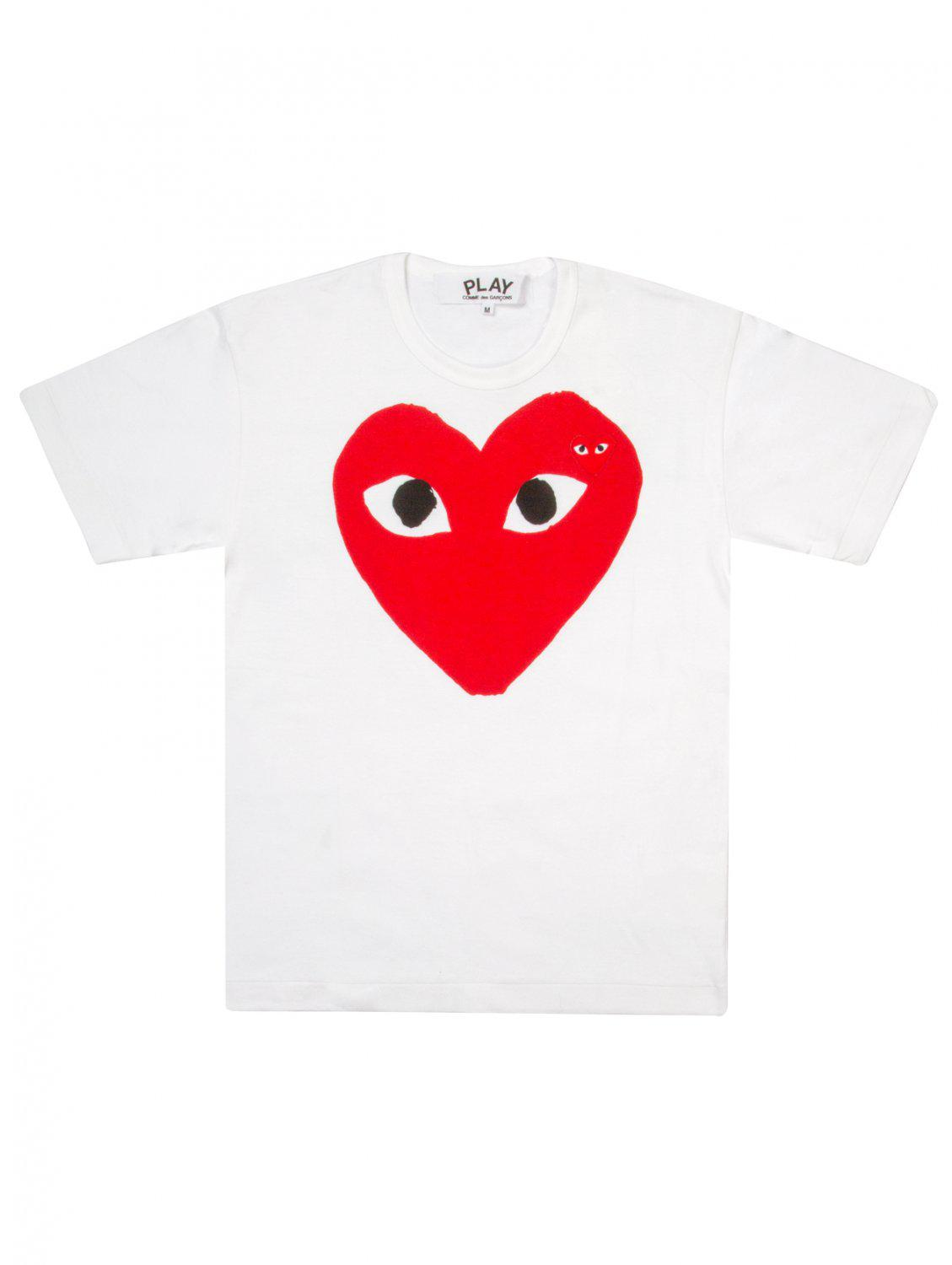 6484a0163010 Comme Des Garçons Play Womens Red Heart Logo T-shirt White in Red - Lyst