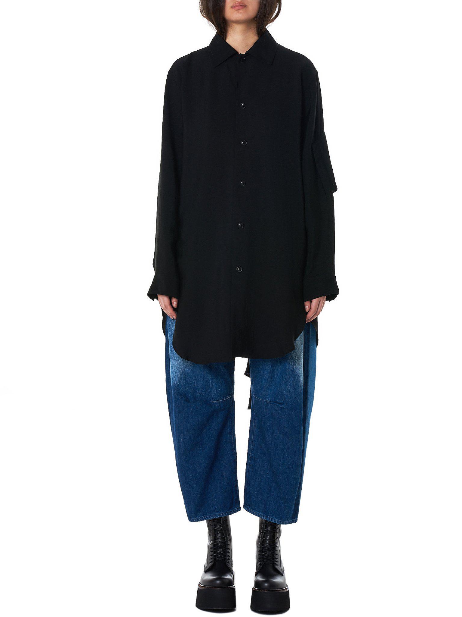 Lyst - Y S Yohji Yamamoto Draped Shirt in Black 1f13c33208