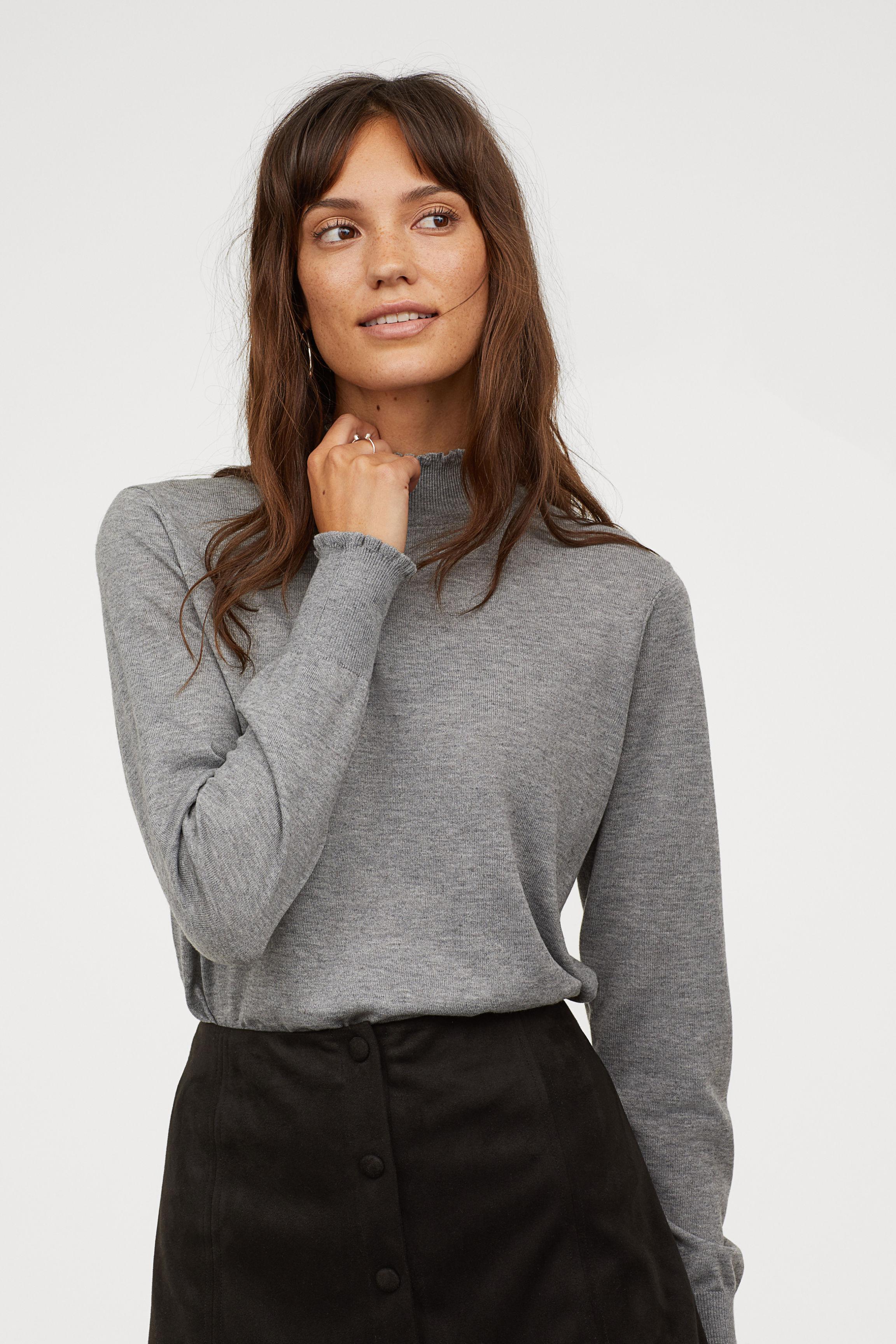 9e4328b4267 Lyst - H M Mock Turtleneck Sweater in Gray