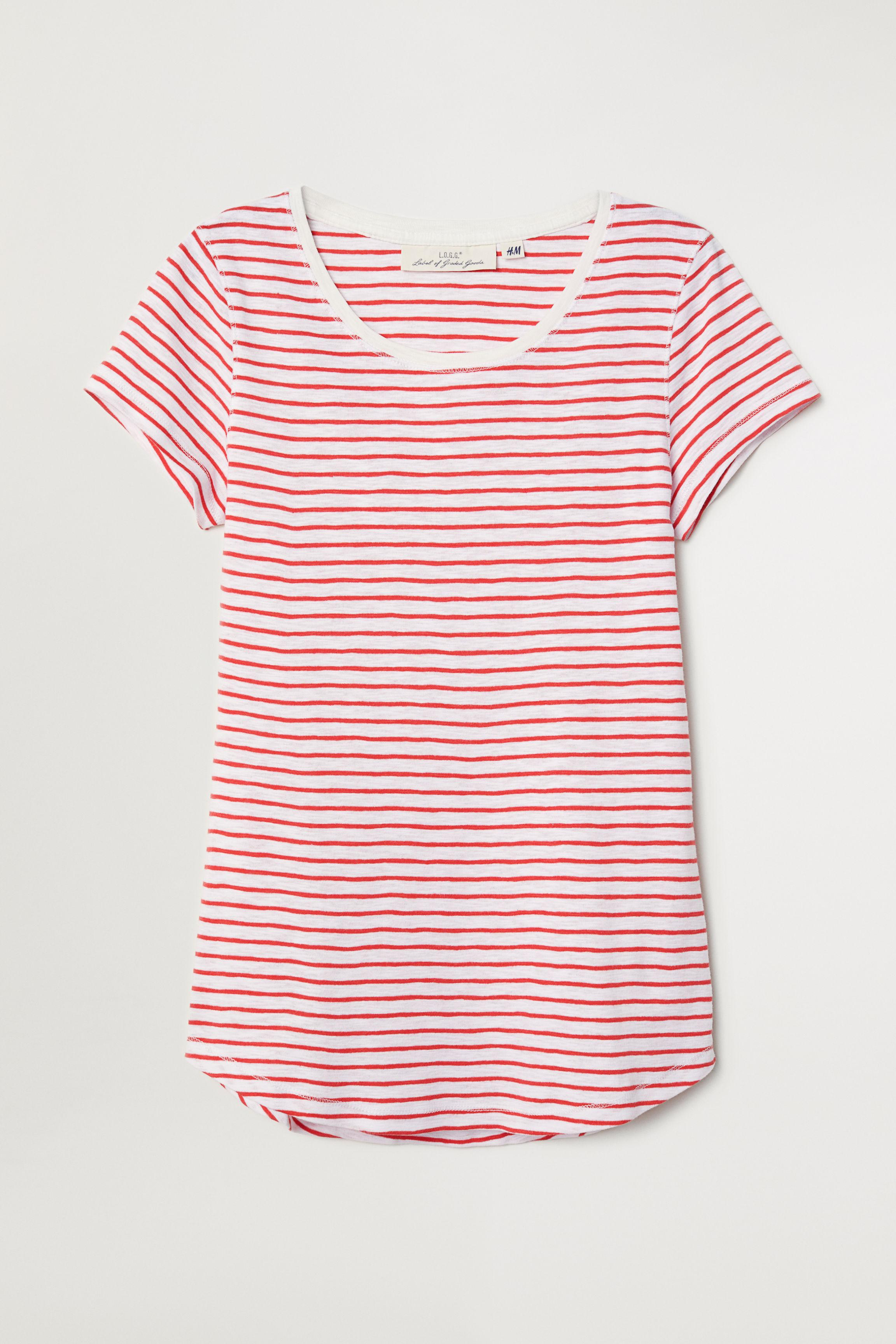 918d06aab4 Lyst - H&M Striped Jersey Top in Red
