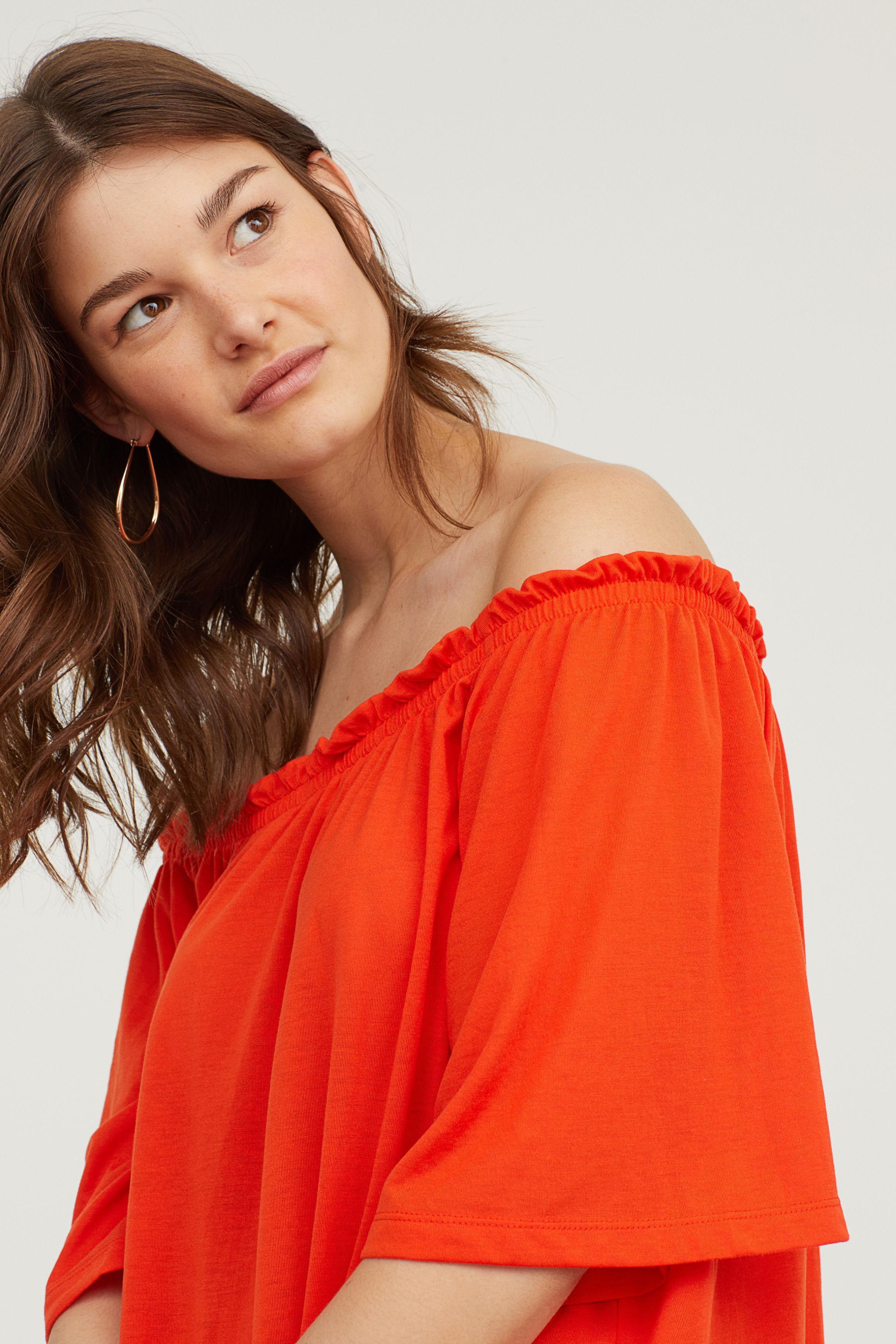 478b997190ac H&M Off-the-shoulder Dress in Orange - Lyst
