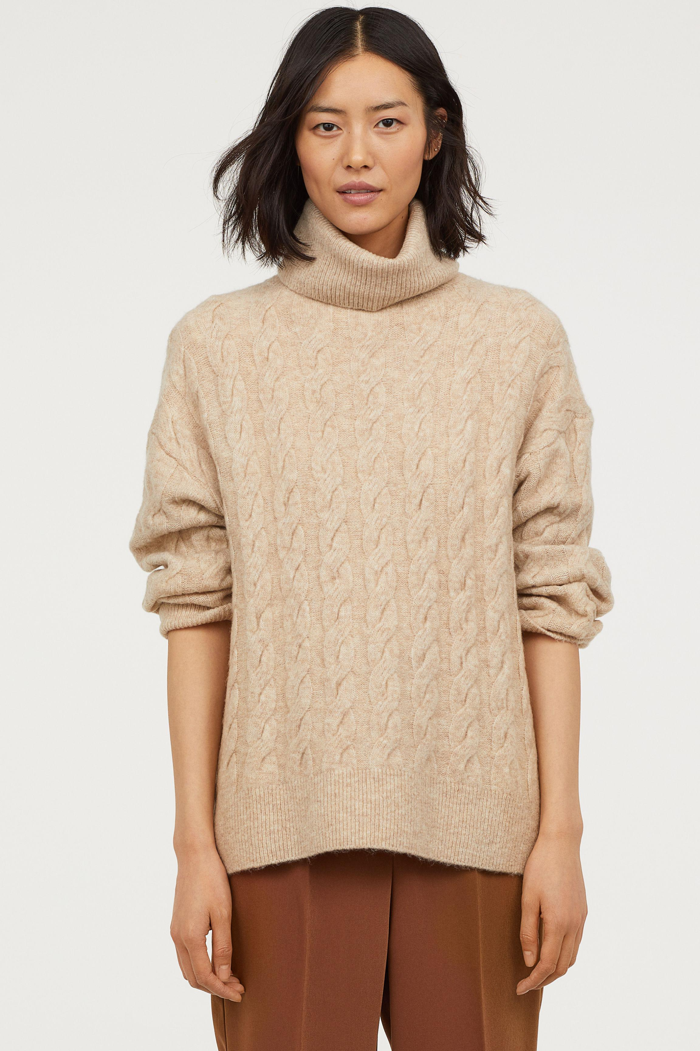 Lyst - H M Cable-knit Turtleneck Sweater in Natural 2c620cb55