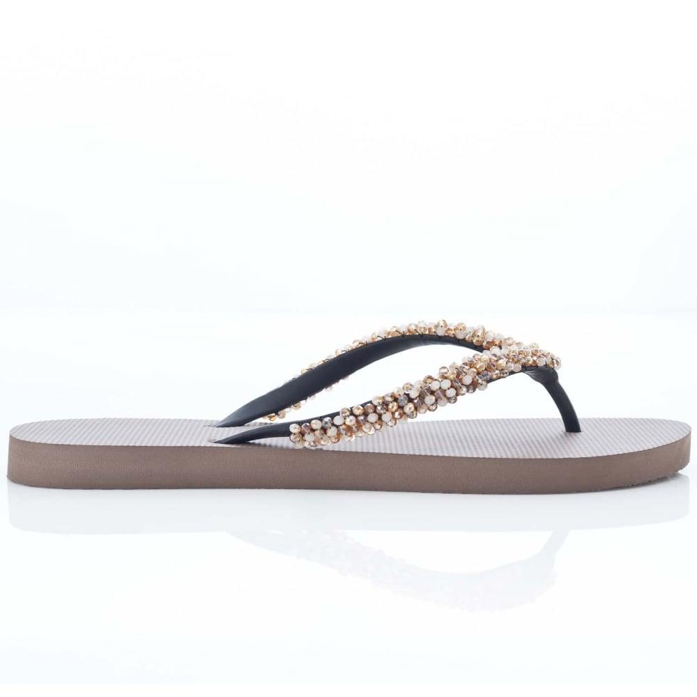 8c456d13a3c1 Uzurii Classic Taupe Flip Flop With Gemstone Embellishments in Brown ...