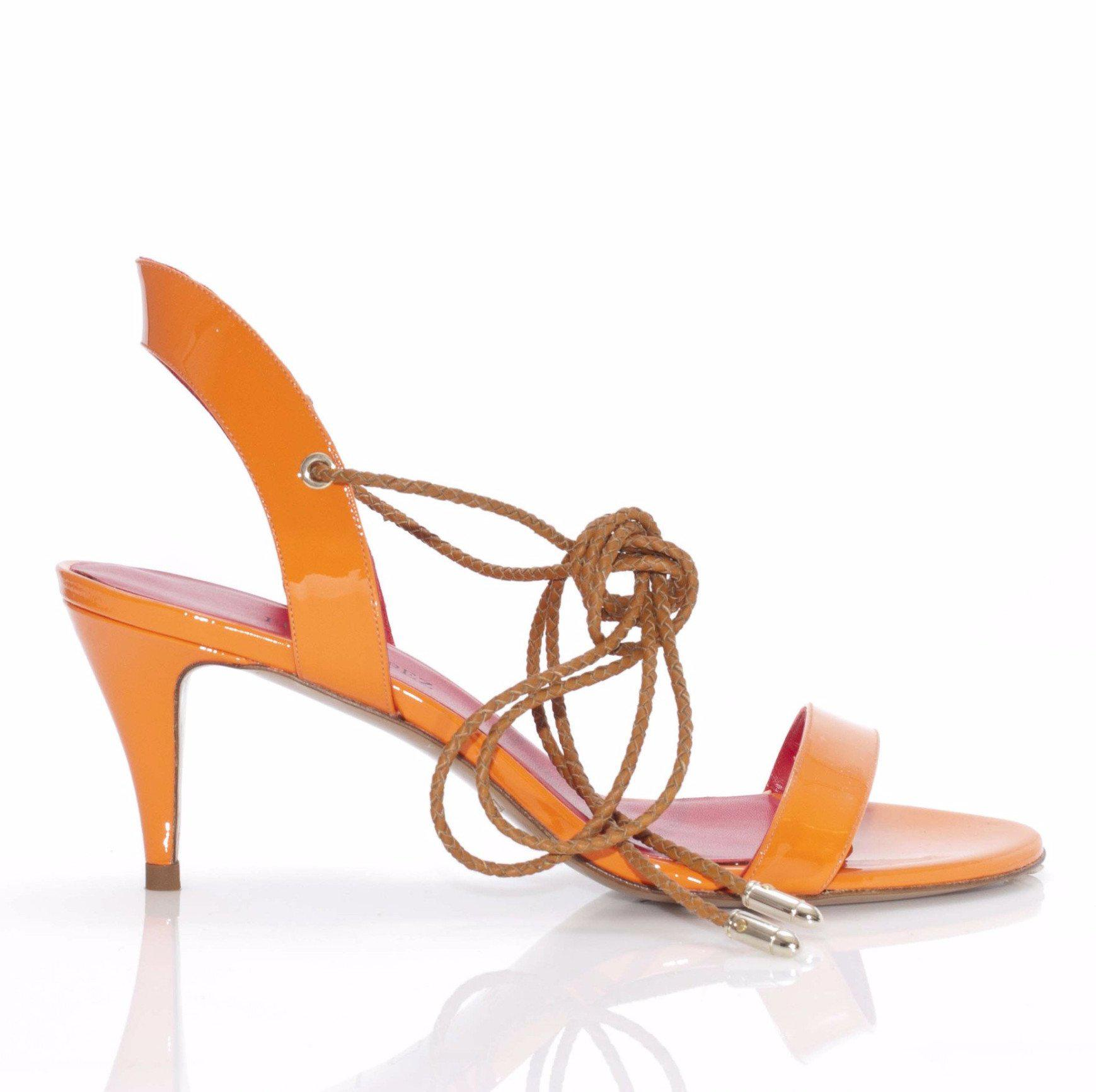 9abe65fd6ff Pura López. Women s Orange Keliana Patent Leather Strappy Lace-up Mid Heel  Sandals
