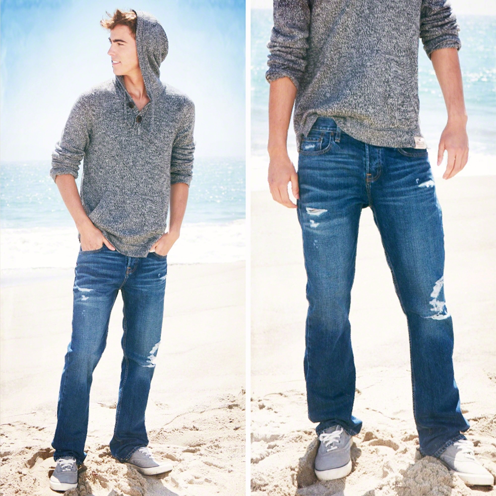 Lyst - Hollister Boot Button Fly Jeans in Blue for Men
