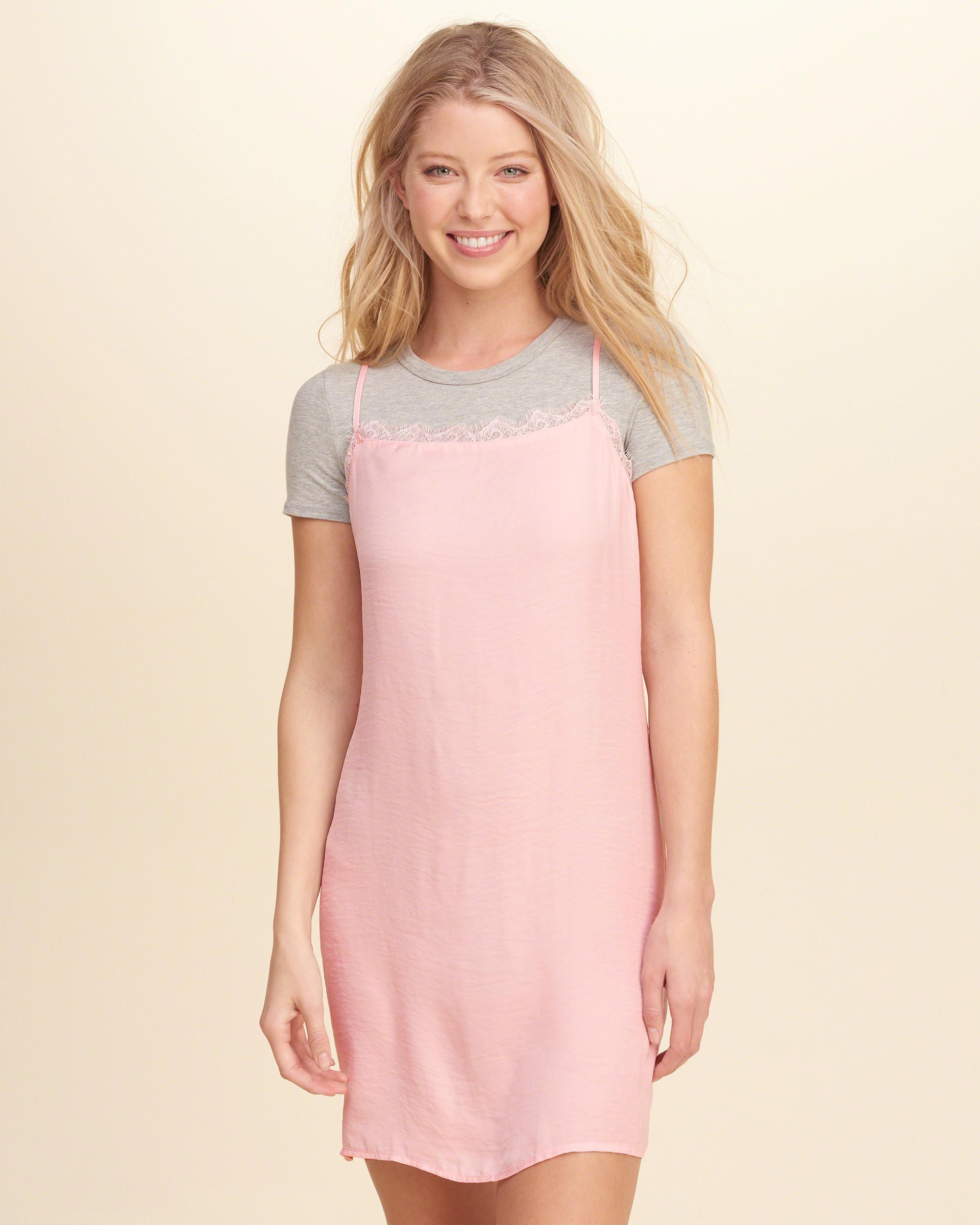 Hollister Lace-trim Satin Slip Dress In Pink