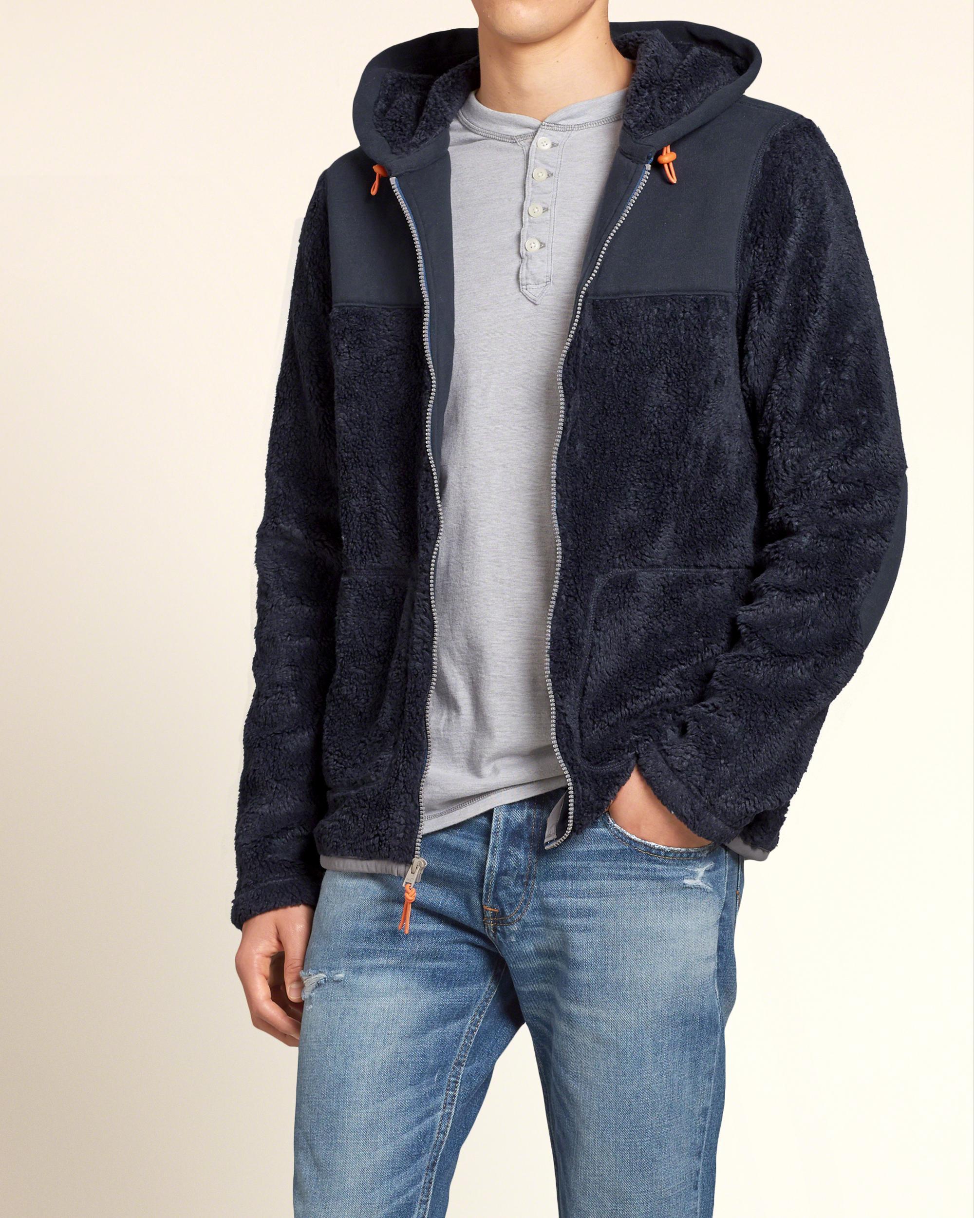 Lyst - Hollister Sherpa Fleece Jacket in Blue for Men