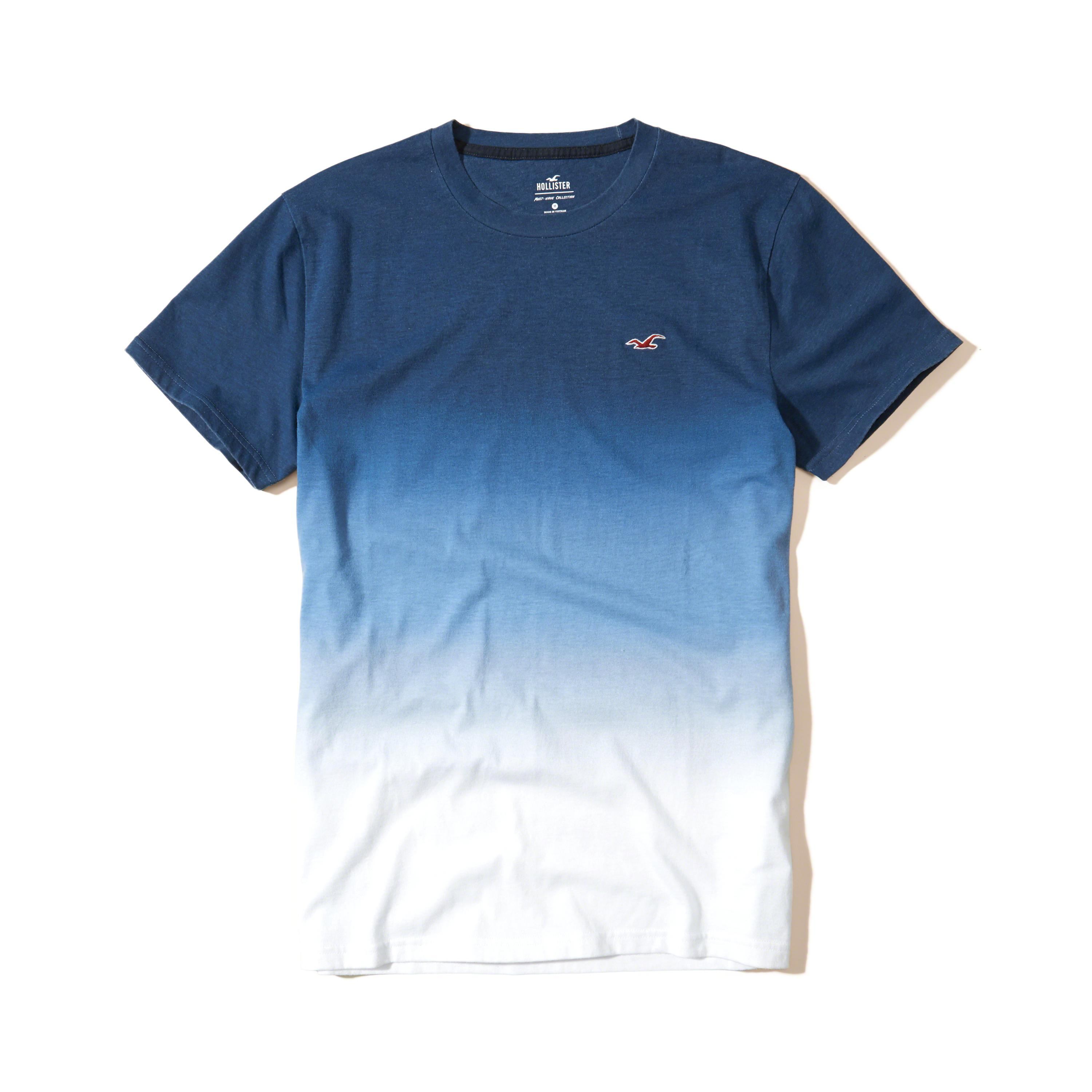 lyst hollister must have ombre crew t shirt in blue for men. Black Bedroom Furniture Sets. Home Design Ideas