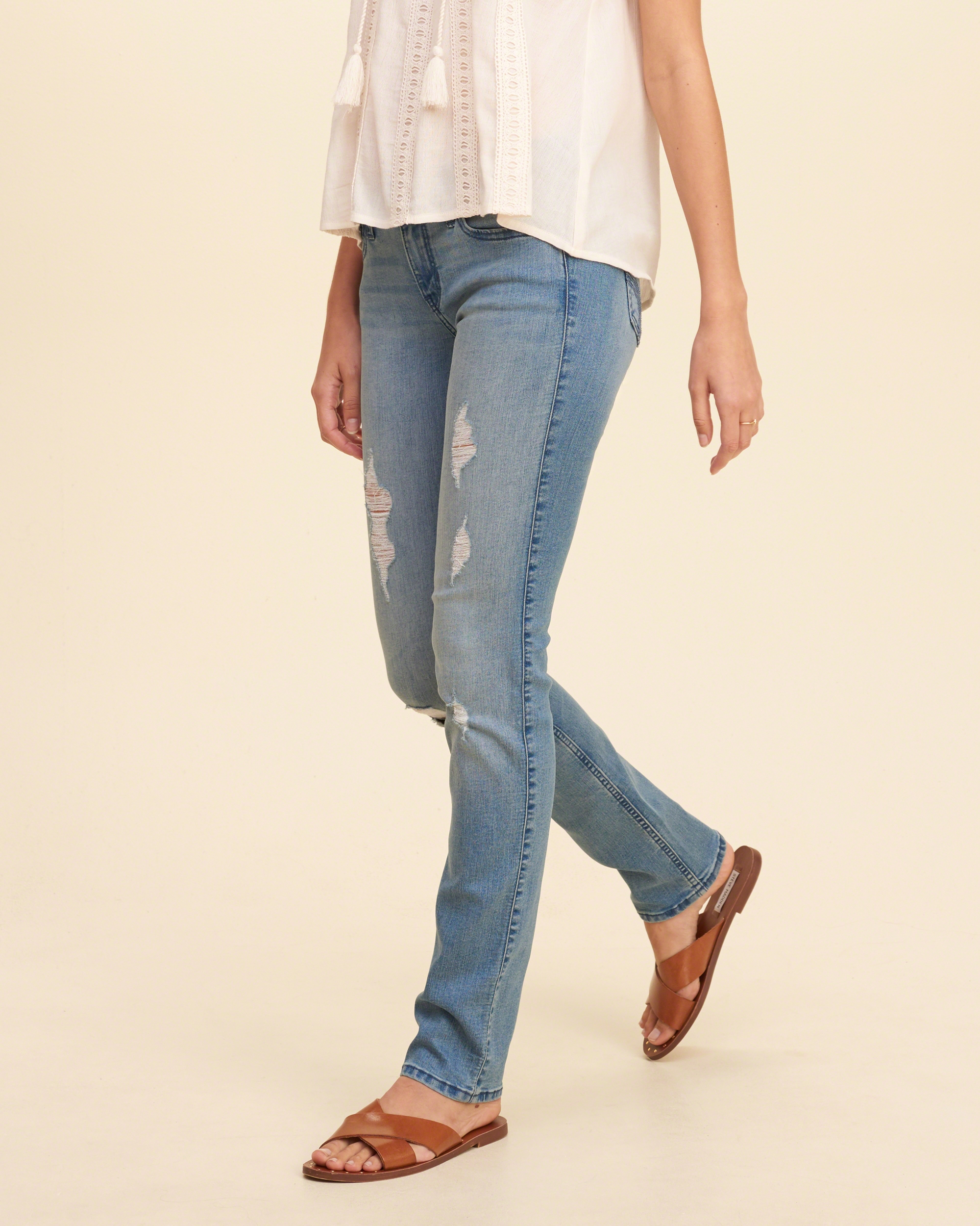 hollister low rise skinny jeans in blue lyst. Black Bedroom Furniture Sets. Home Design Ideas