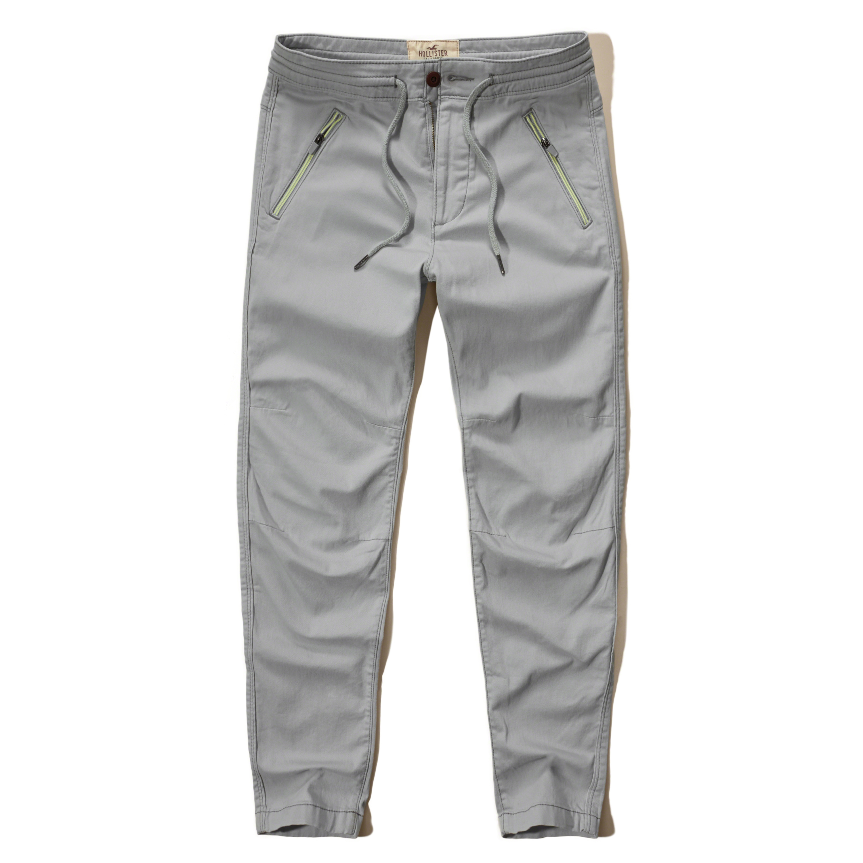 Hollister Hybrid Twill Jogger Pants in Gray for Men | Lyst