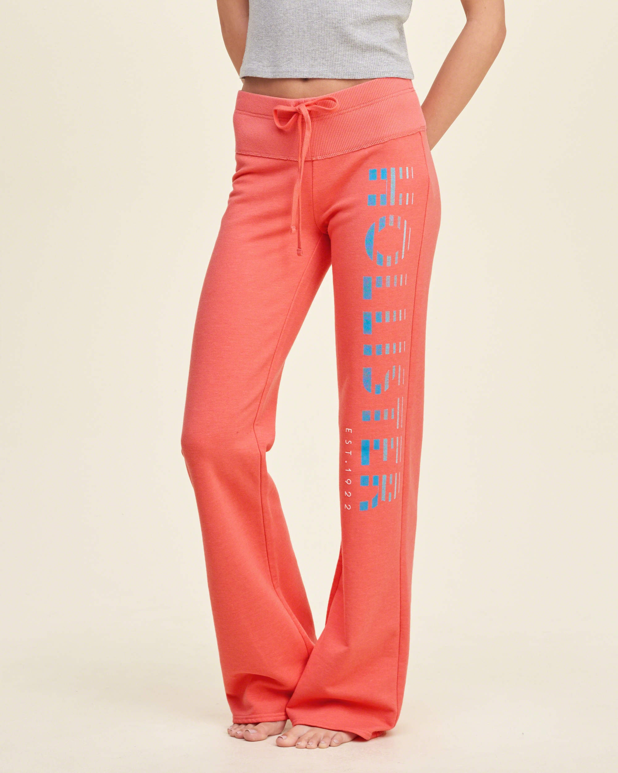 hollister graphic flare sweatpants in pink lyst