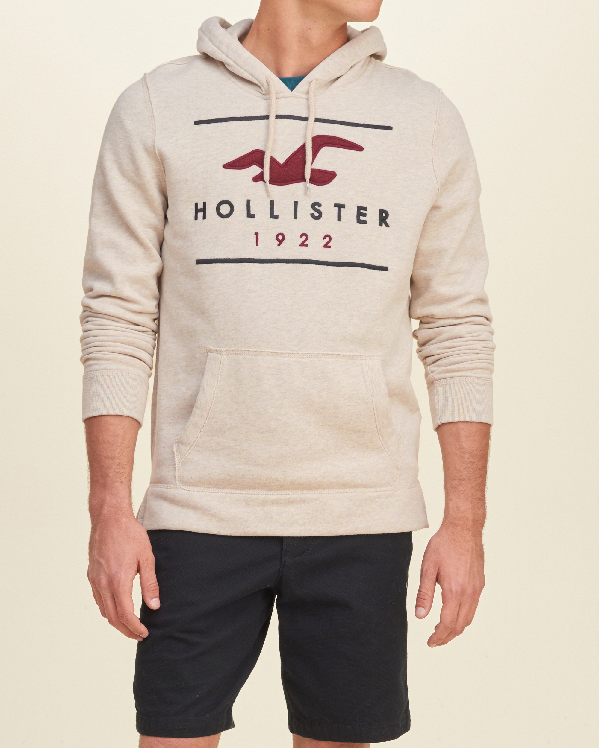 lyst hollister applique logo graphic hoodie in natural