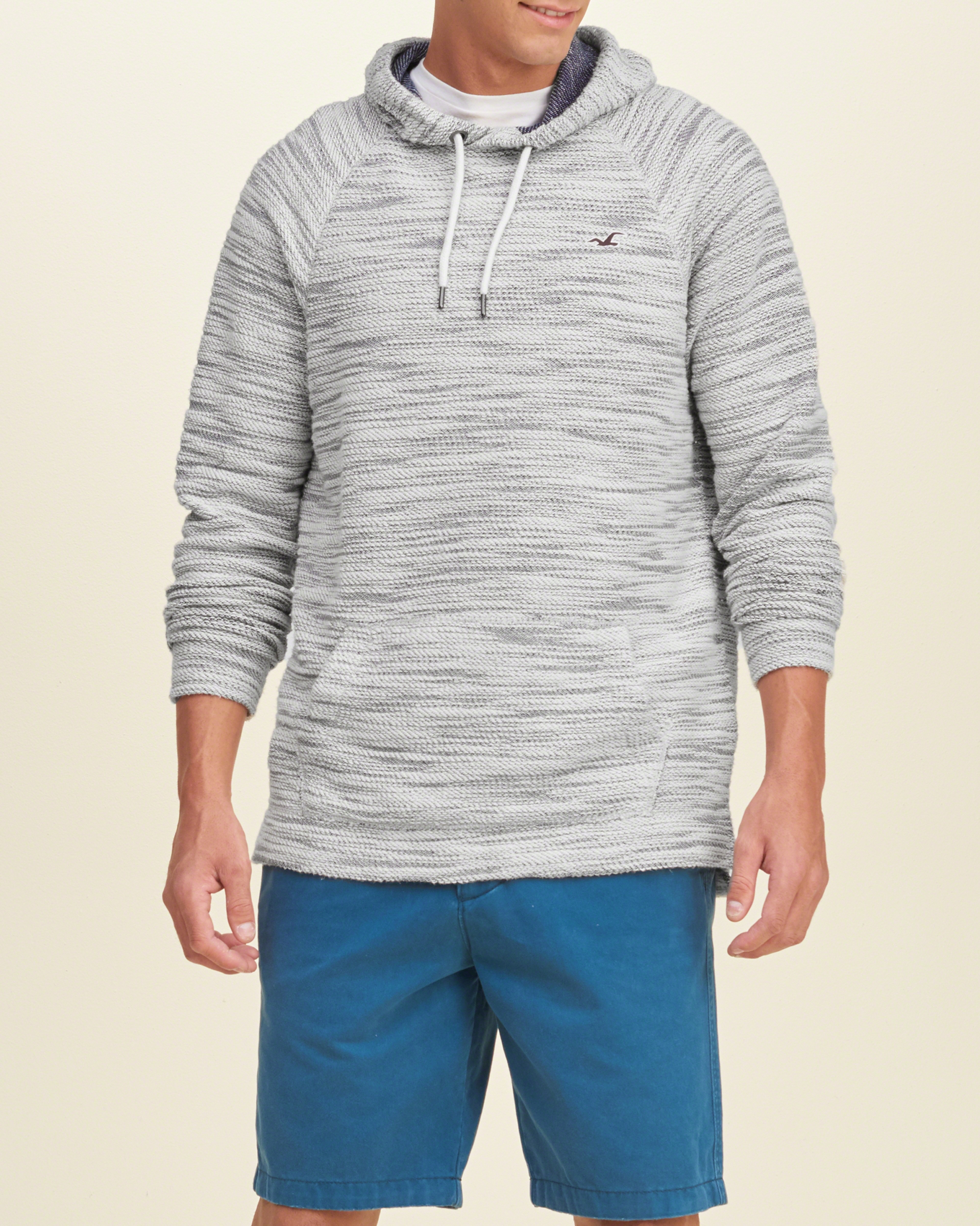 Hollister Iconic Boucle Hoodie in Gray for Men | Lyst