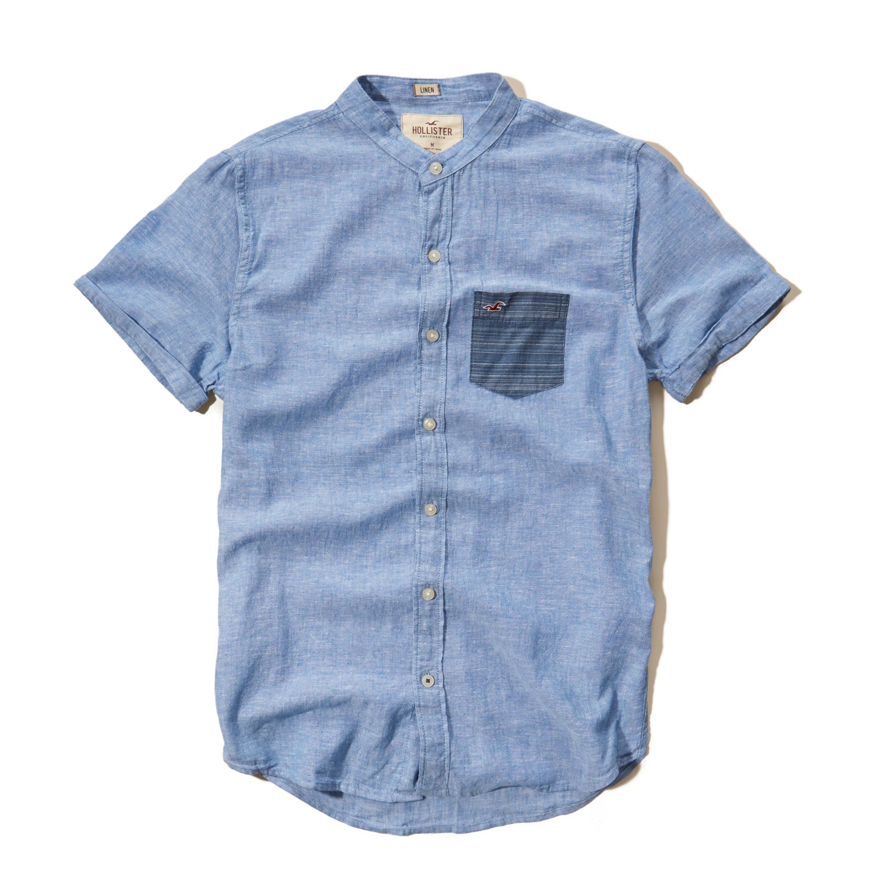 Hollister Banded Collar Cotton Linen Shirt In Blue For Men