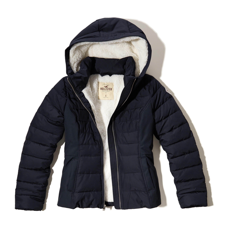 hollister sherpa lined puffer jacket in blue navy lyst