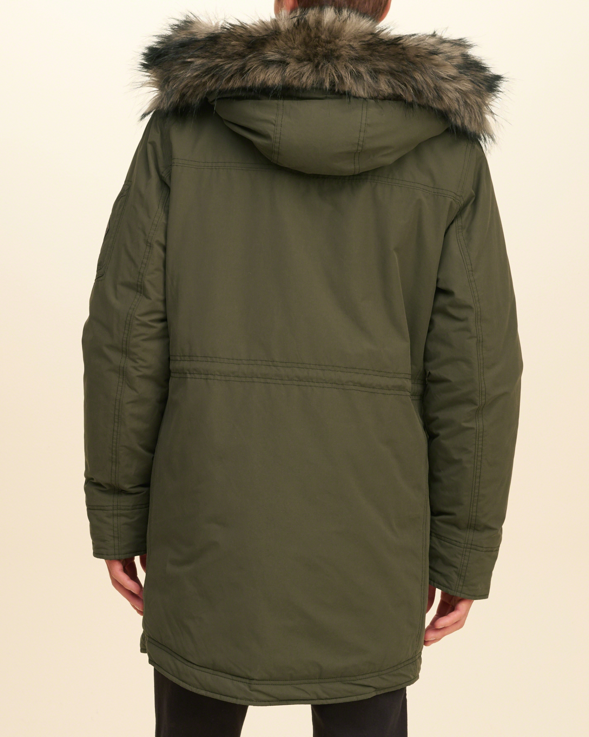 lyst hollister faux fur lined parka in green for men