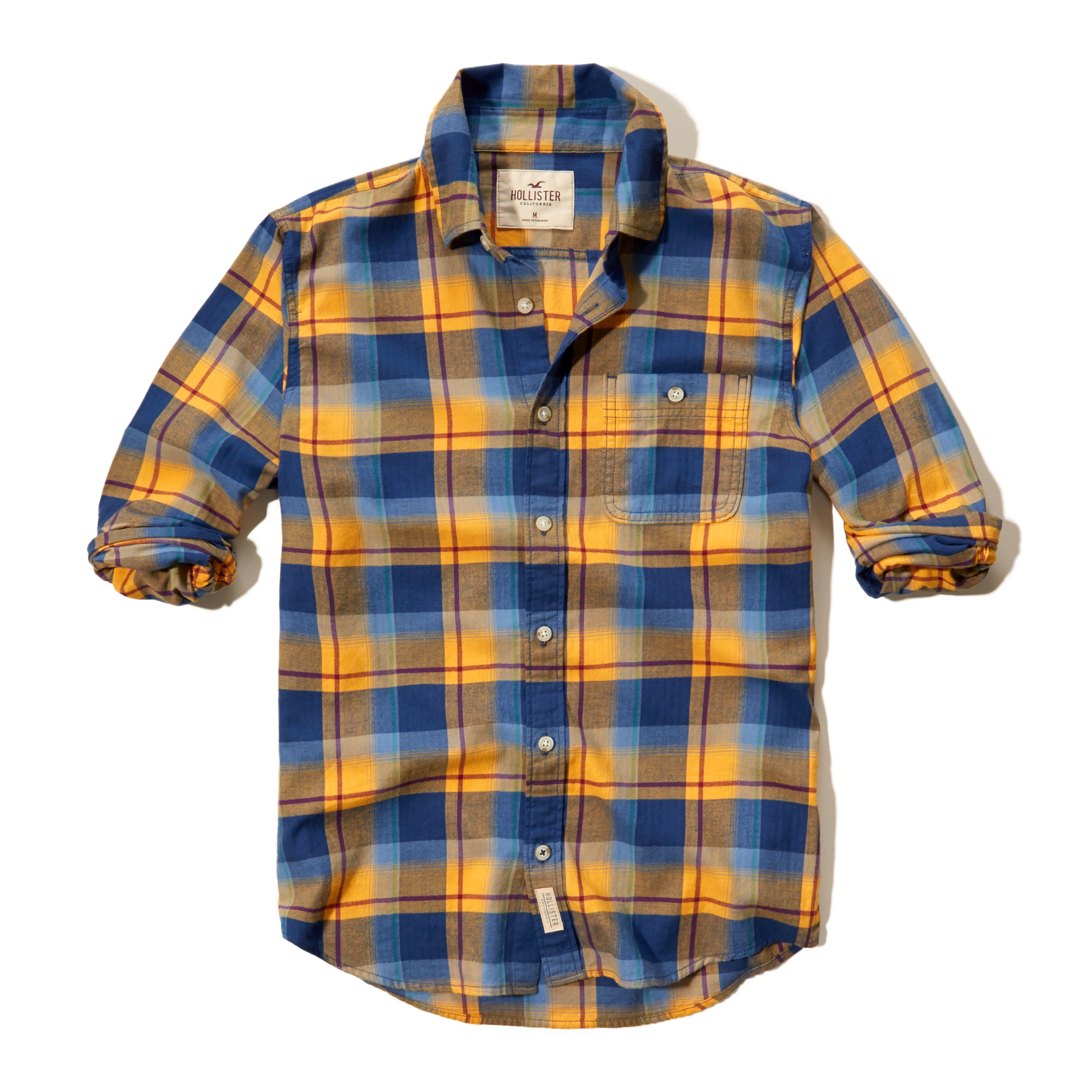 Hollister plaid brushed cotton shirt in blue for men lyst for Blue and yellow plaid dress shirt