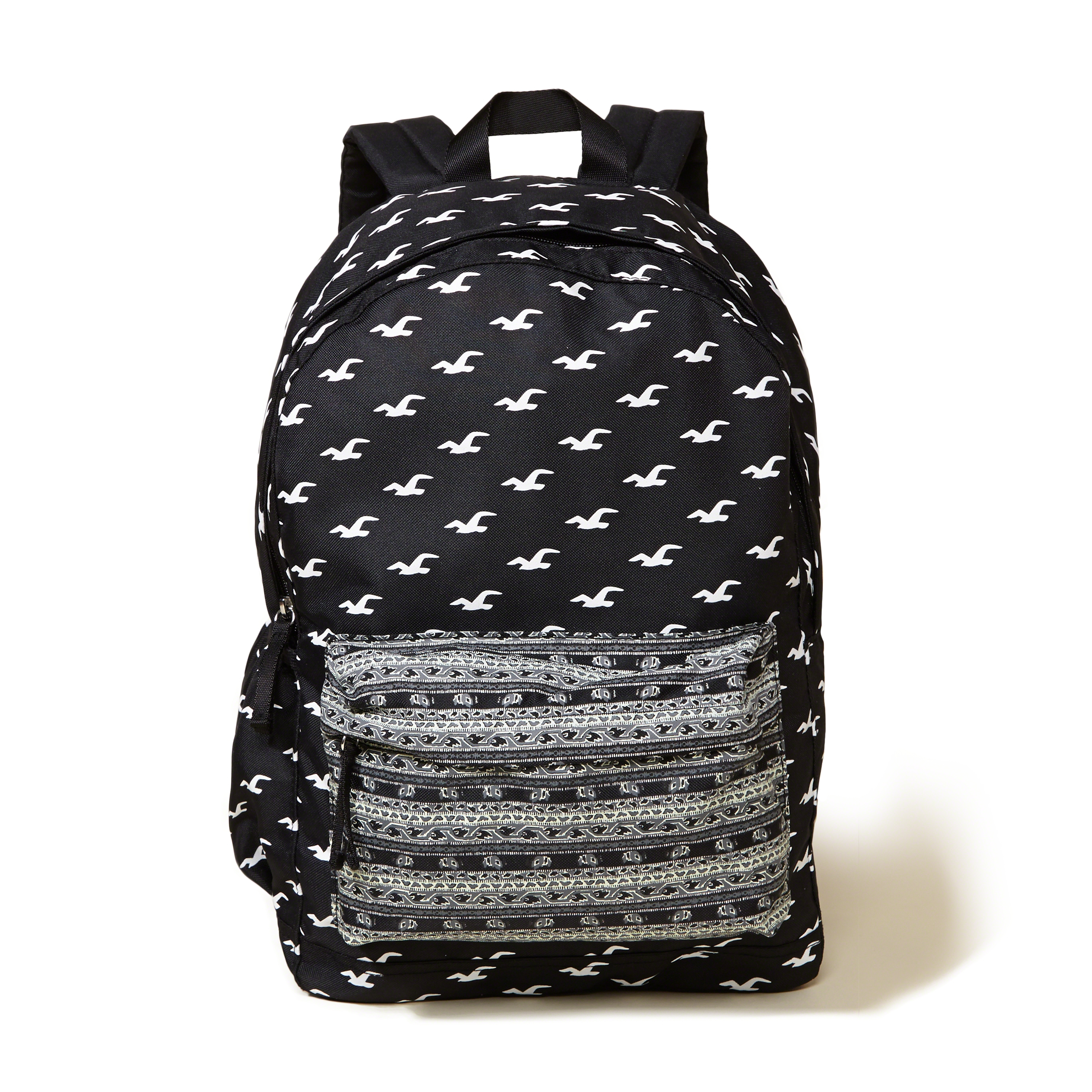 Hollister Printed Nylon Backpack In Black Lyst