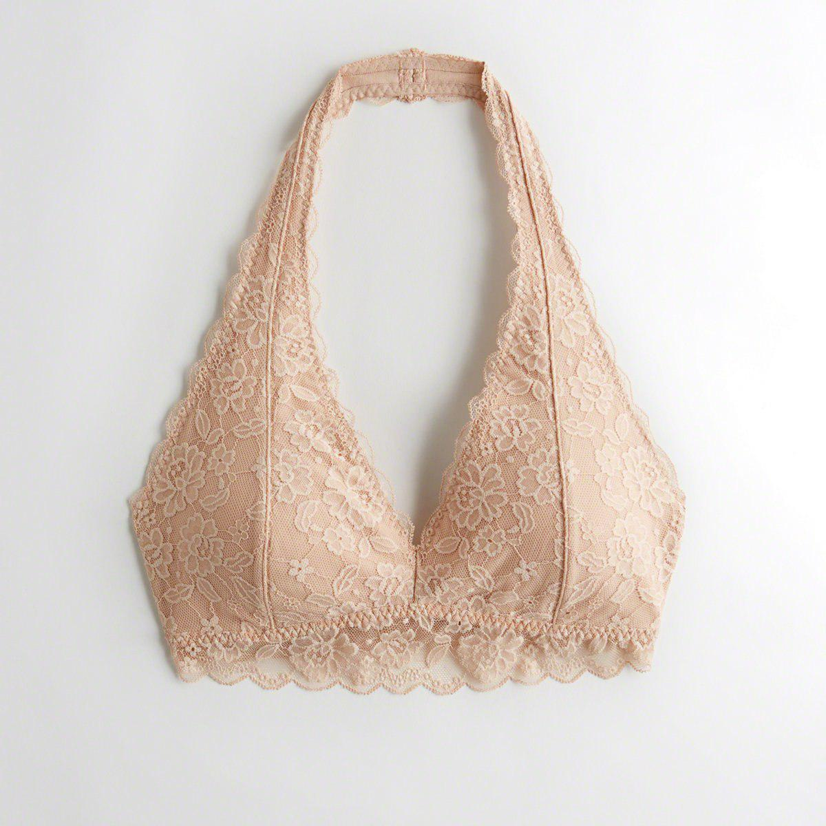 b54a28ed068 Hollister. Women s Natural Girls Lace Halter Bralette With Removable Pads  From Hollister