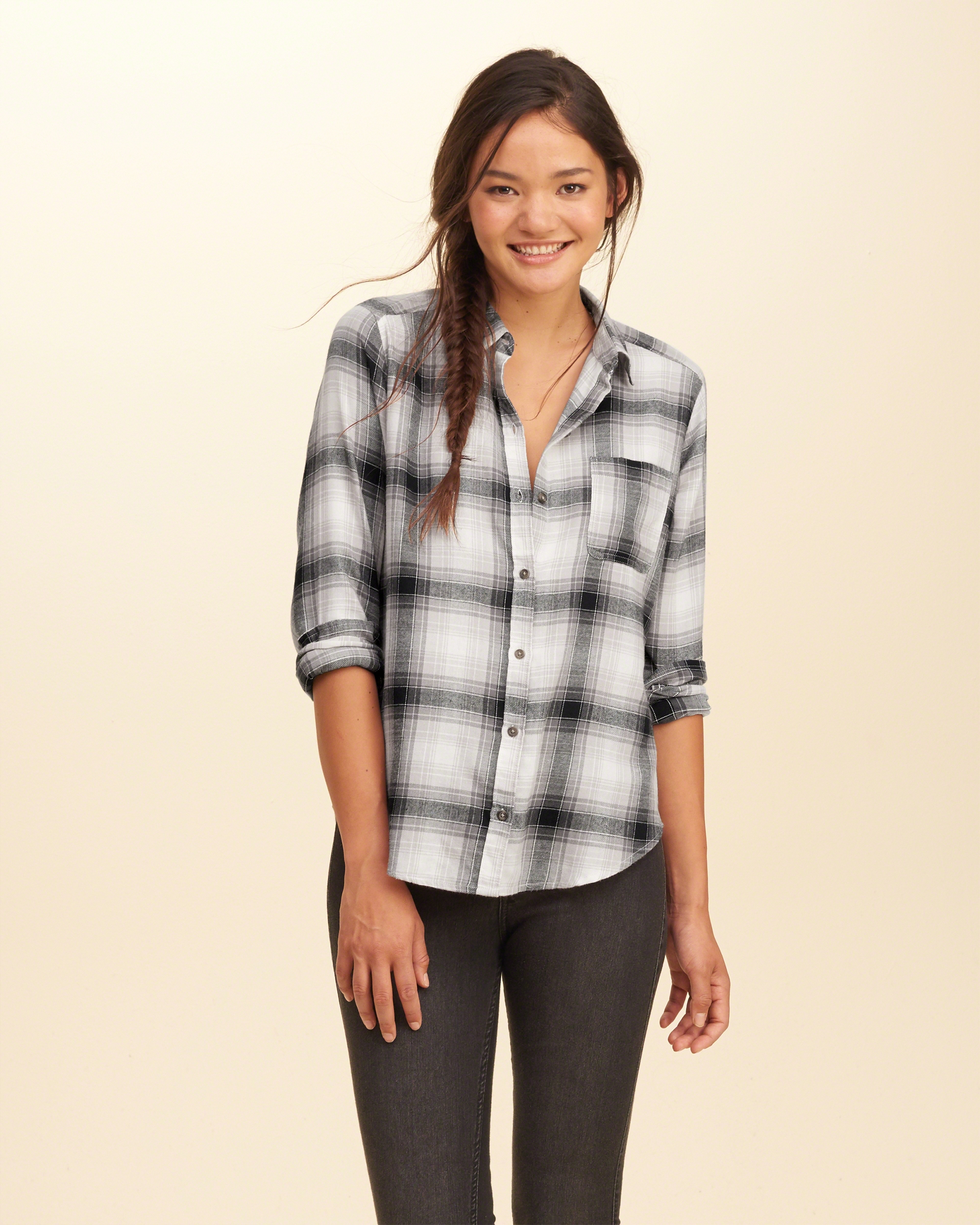 Lyst hollister button front plaid shirt in gray for Grey plaid shirt womens