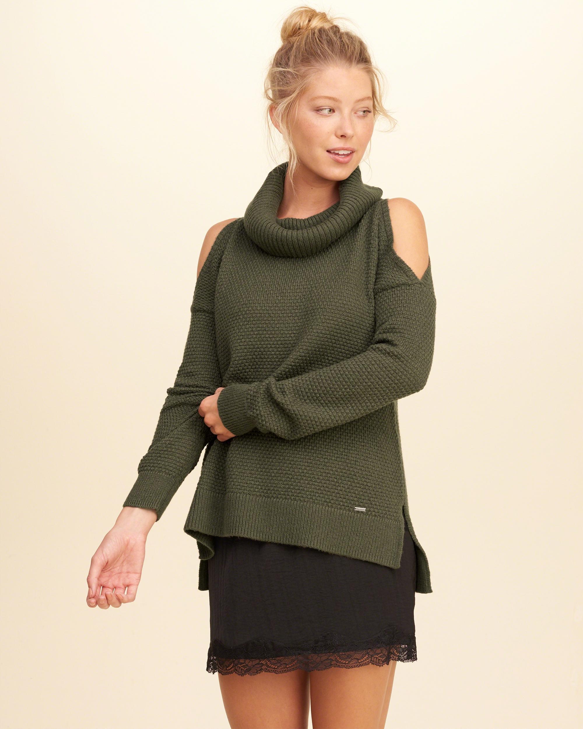 Hollister Cowl Neck Cold Shoulder Sweater | Lyst