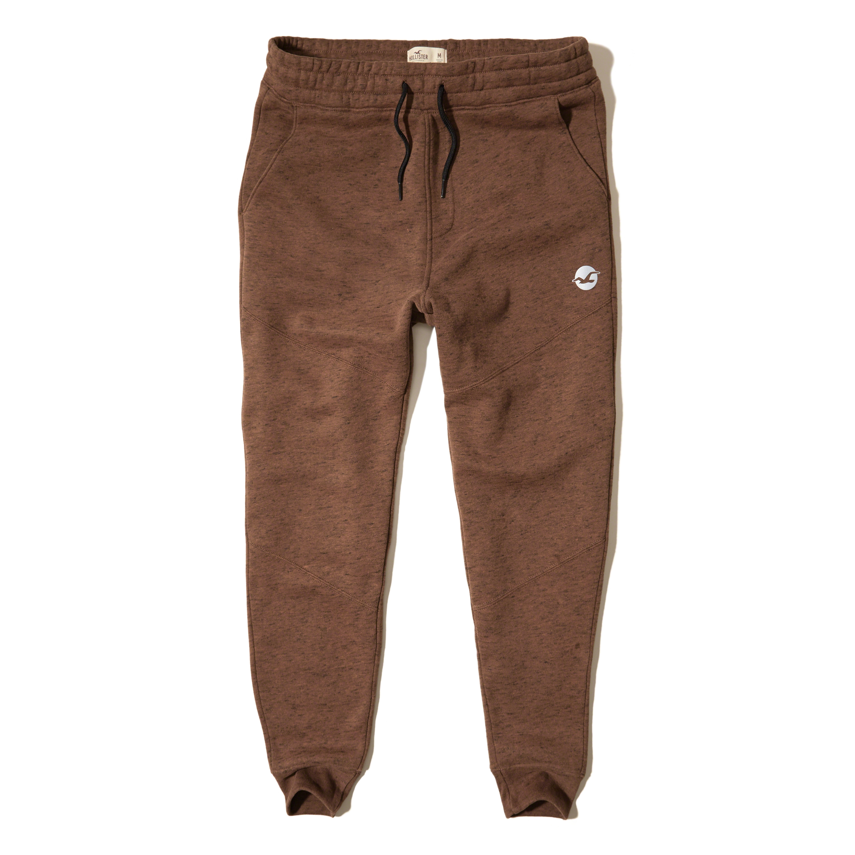 Hollister Fleece Jogger Pants in Brown for Men | Lyst