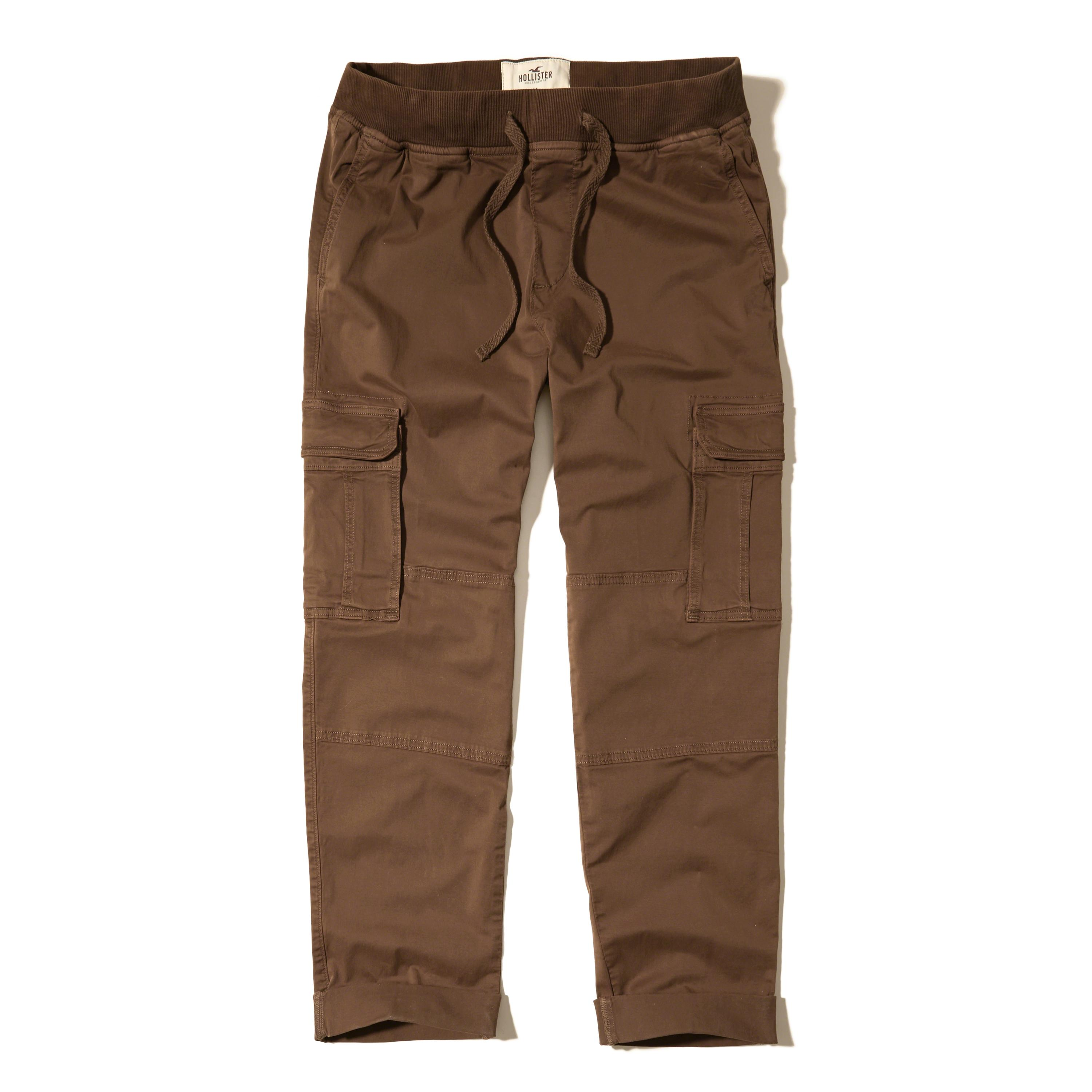 Hollister Pull-on Twill Cargo Pants in Brown for Men | Lyst