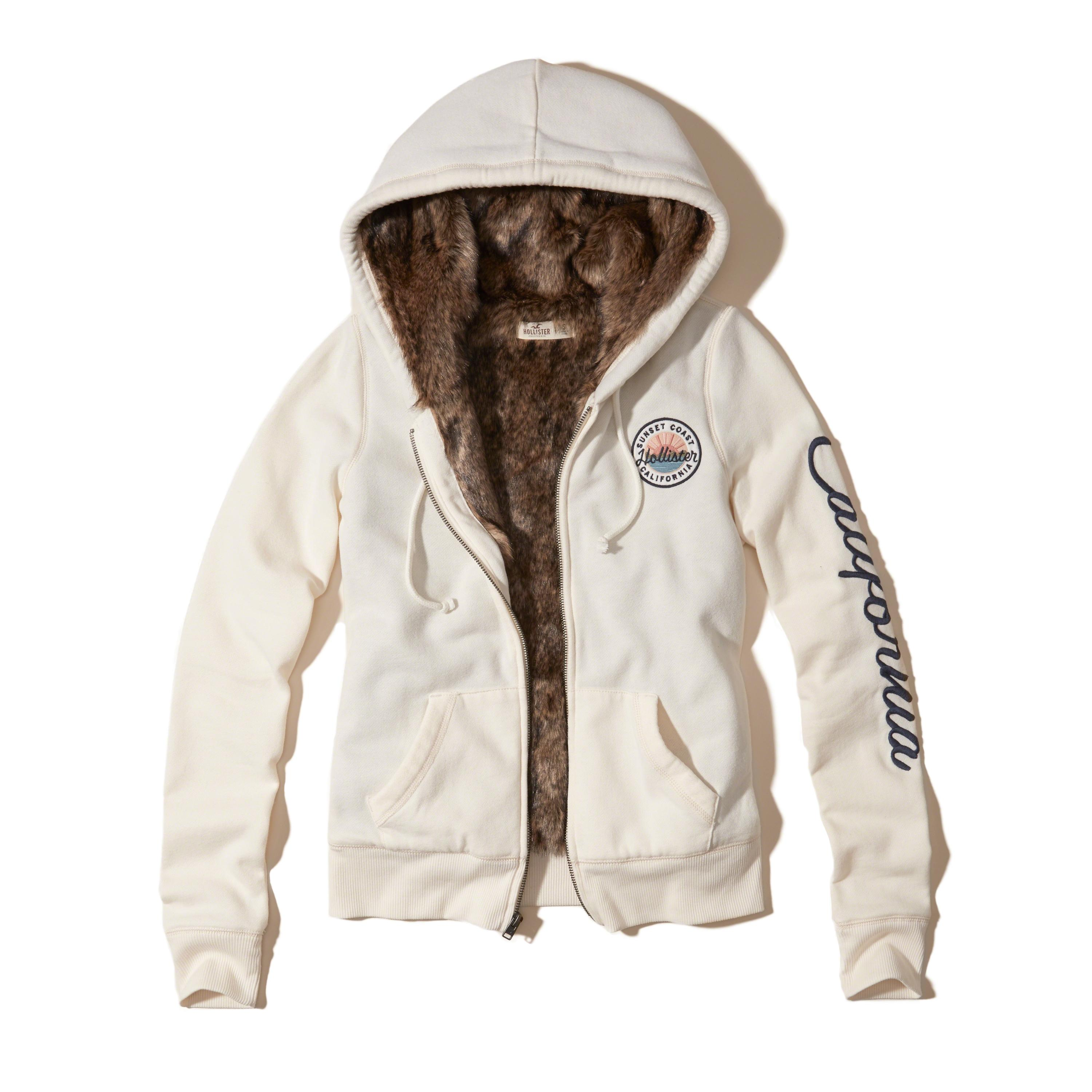 Lyst - Hollister Faux Fur Lined Graphic Hoodie In White-5920