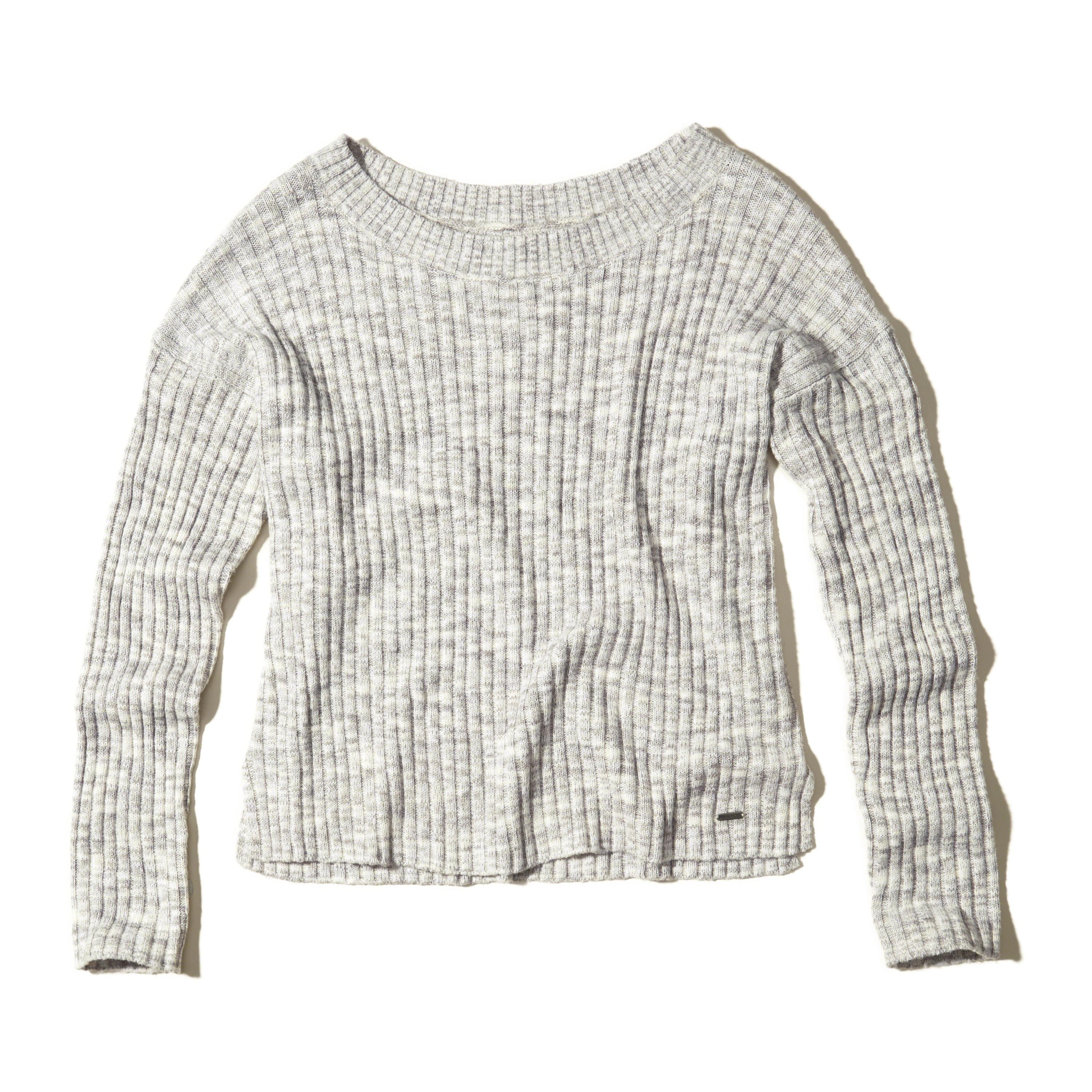 Hollister Slouchy Ribbed Pullover Sweater in Gray | Lyst