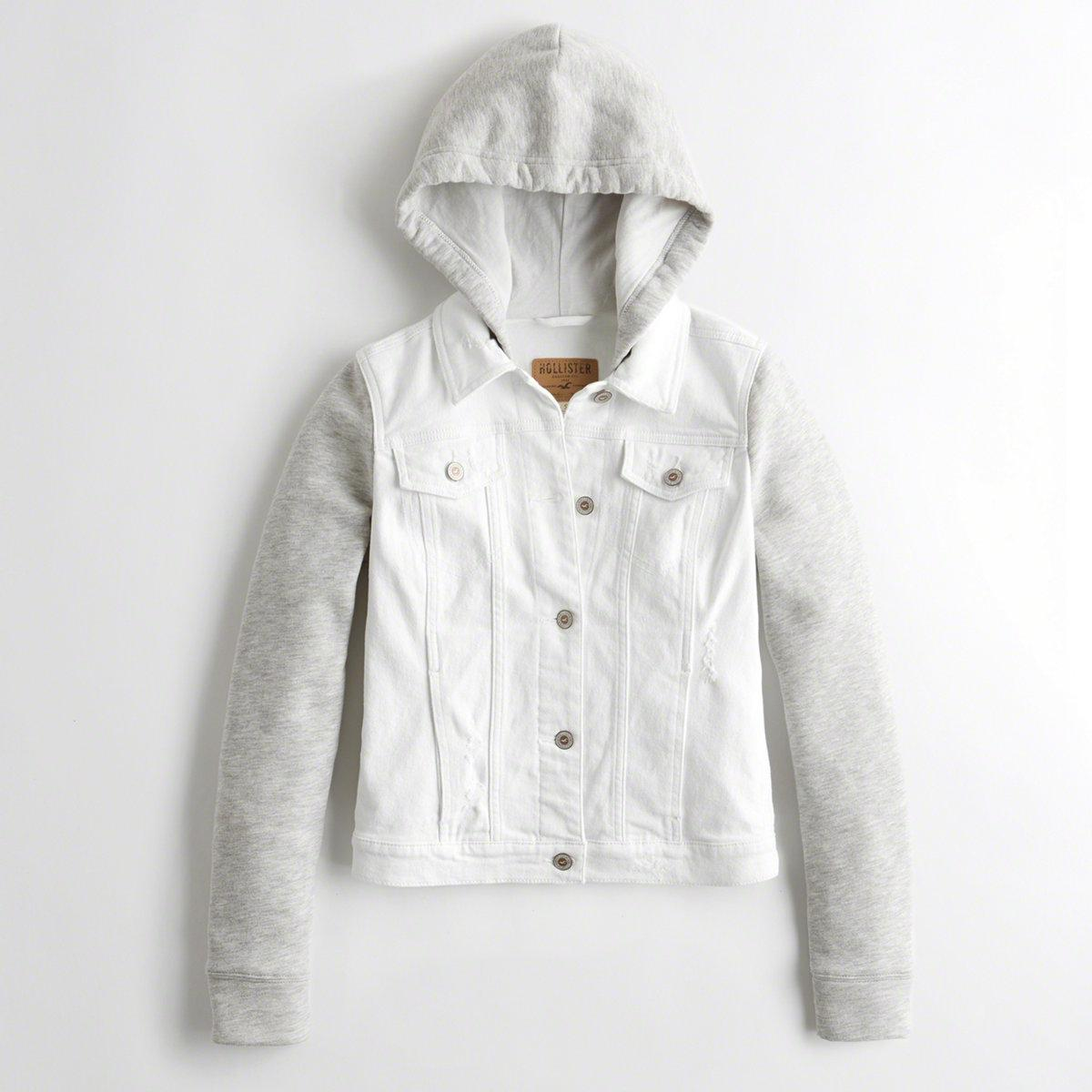 842717ccf Hollister Girls Hooded Denim Jacket From Hollister in Gray - Lyst