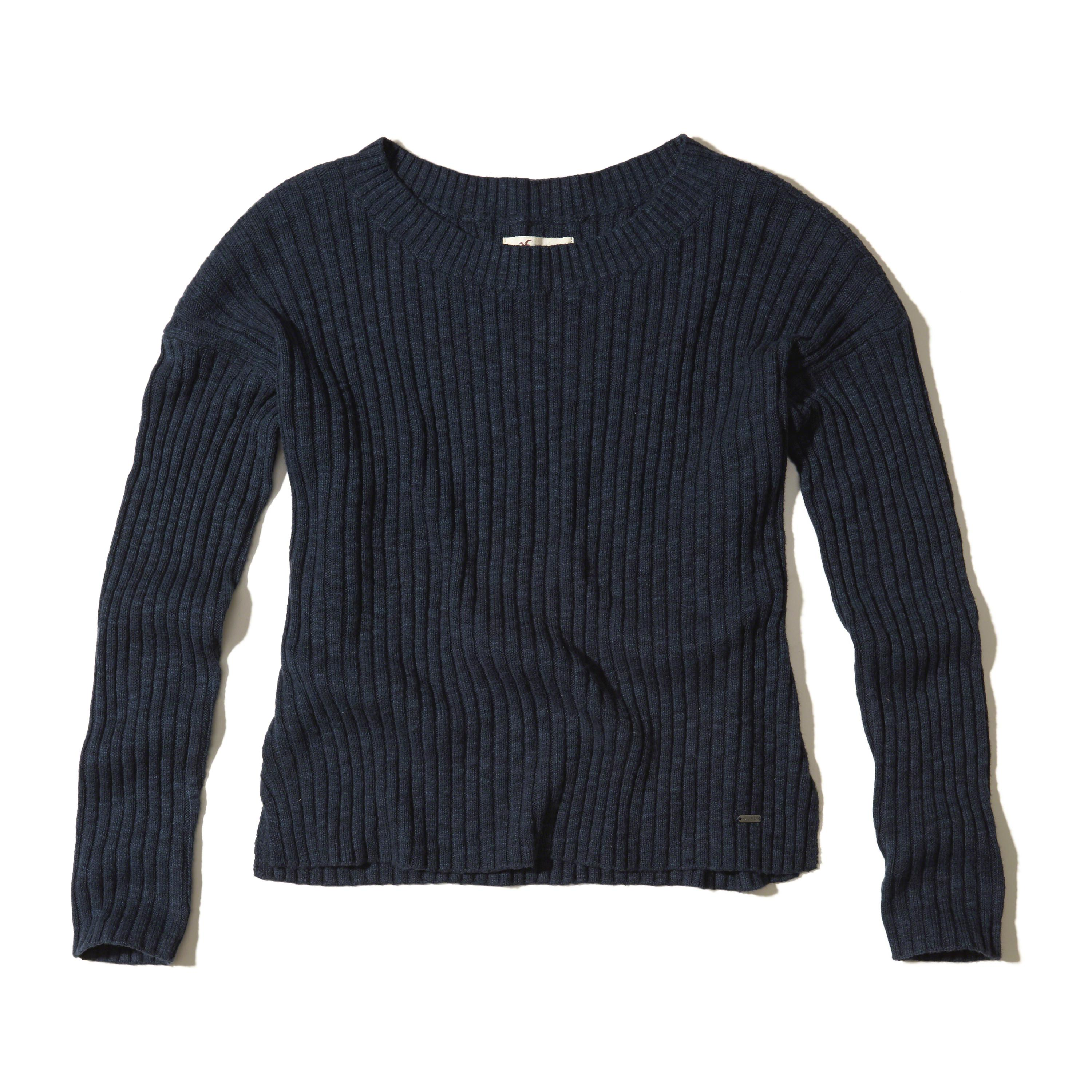 Hollister Slouchy Ribbed Pullover Sweater in Blue | Lyst