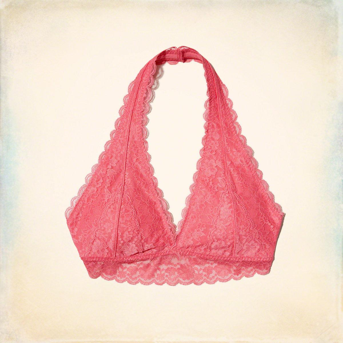 a37ef63ea28 Lyst - Hollister Lace Halter Bralette With Removable Pads in Pink
