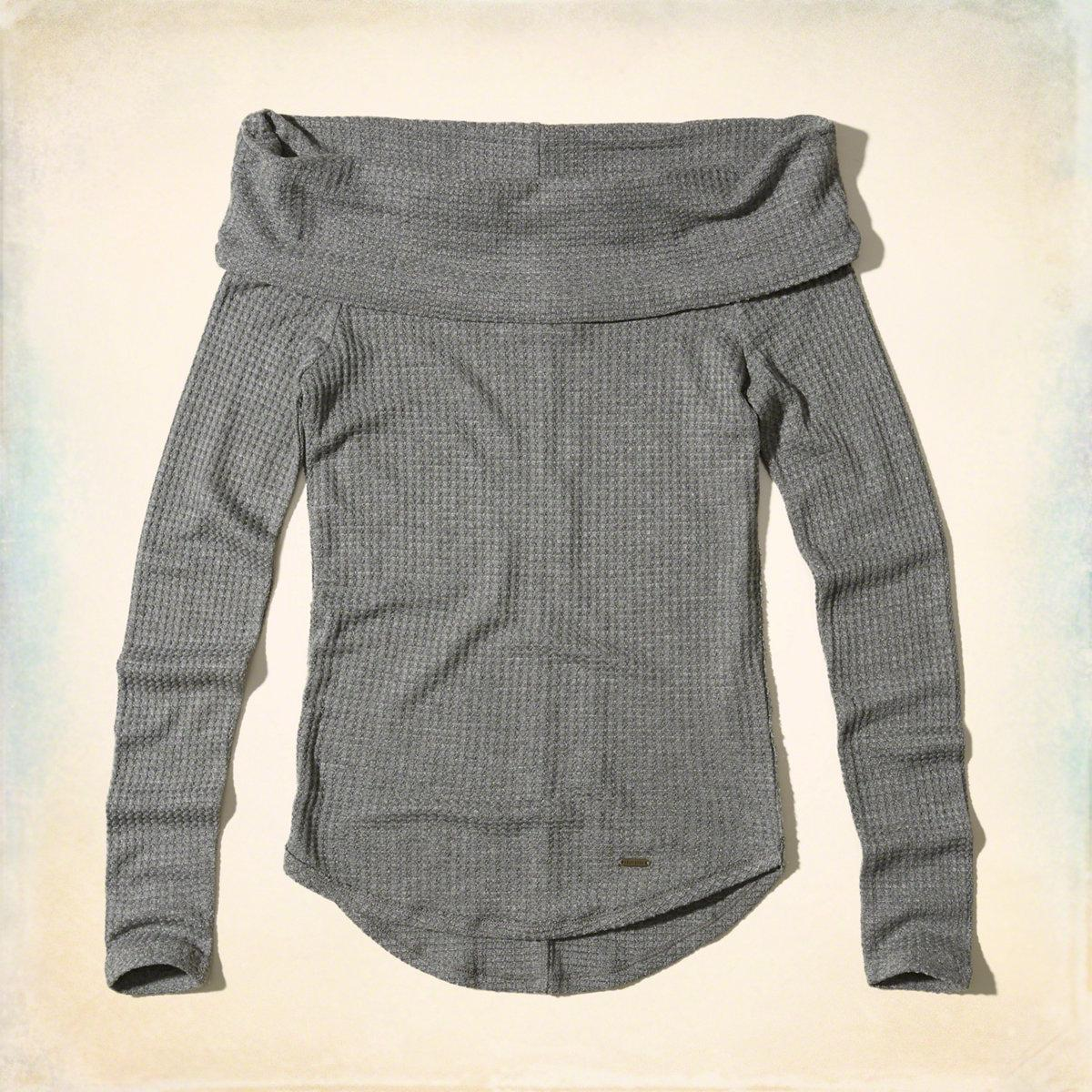 e21159711a39e Lyst - Hollister Must-have Off-the-shoulder Waffle Top in Gray