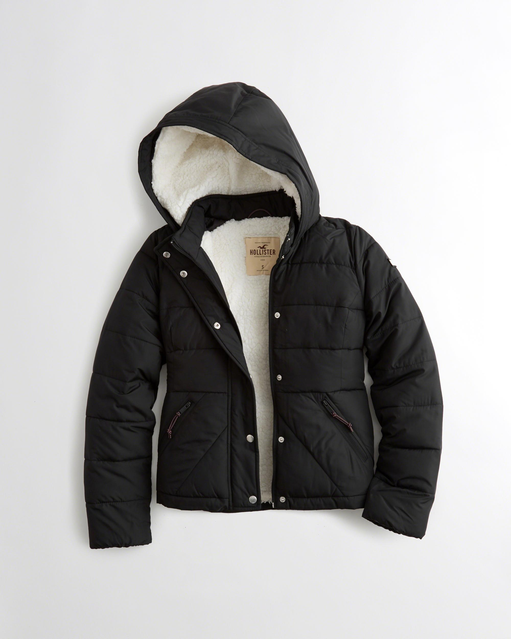 hollister sherpa lined puffer jacket in black lyst. Black Bedroom Furniture Sets. Home Design Ideas