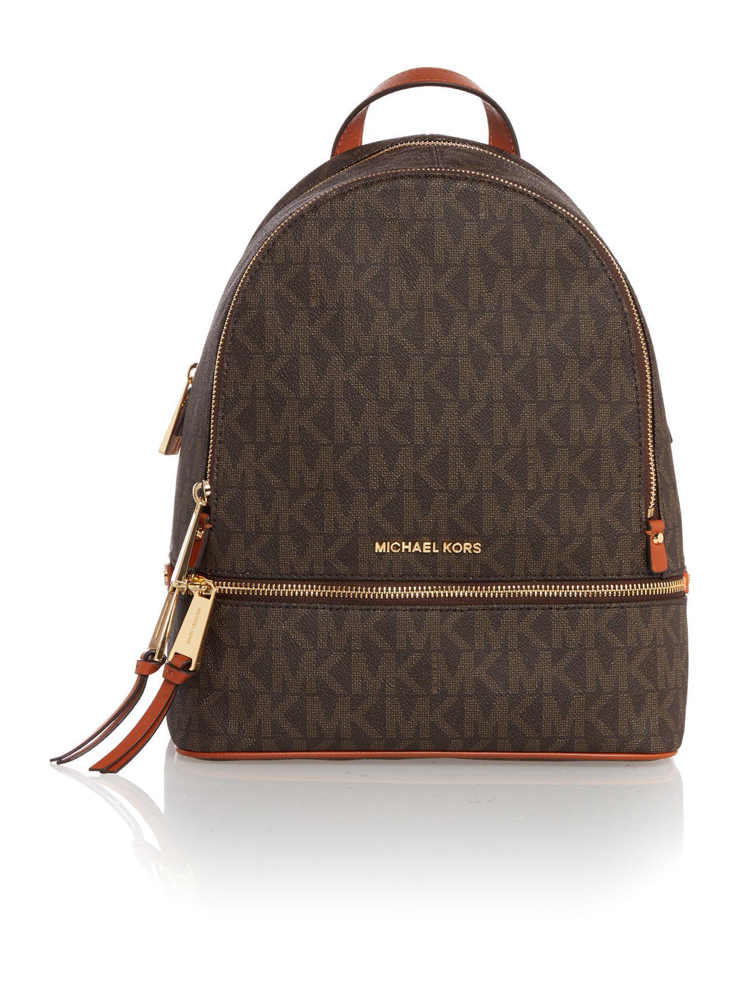 michael kors rhea zip brown medium backpack in brown lyst. Black Bedroom Furniture Sets. Home Design Ideas