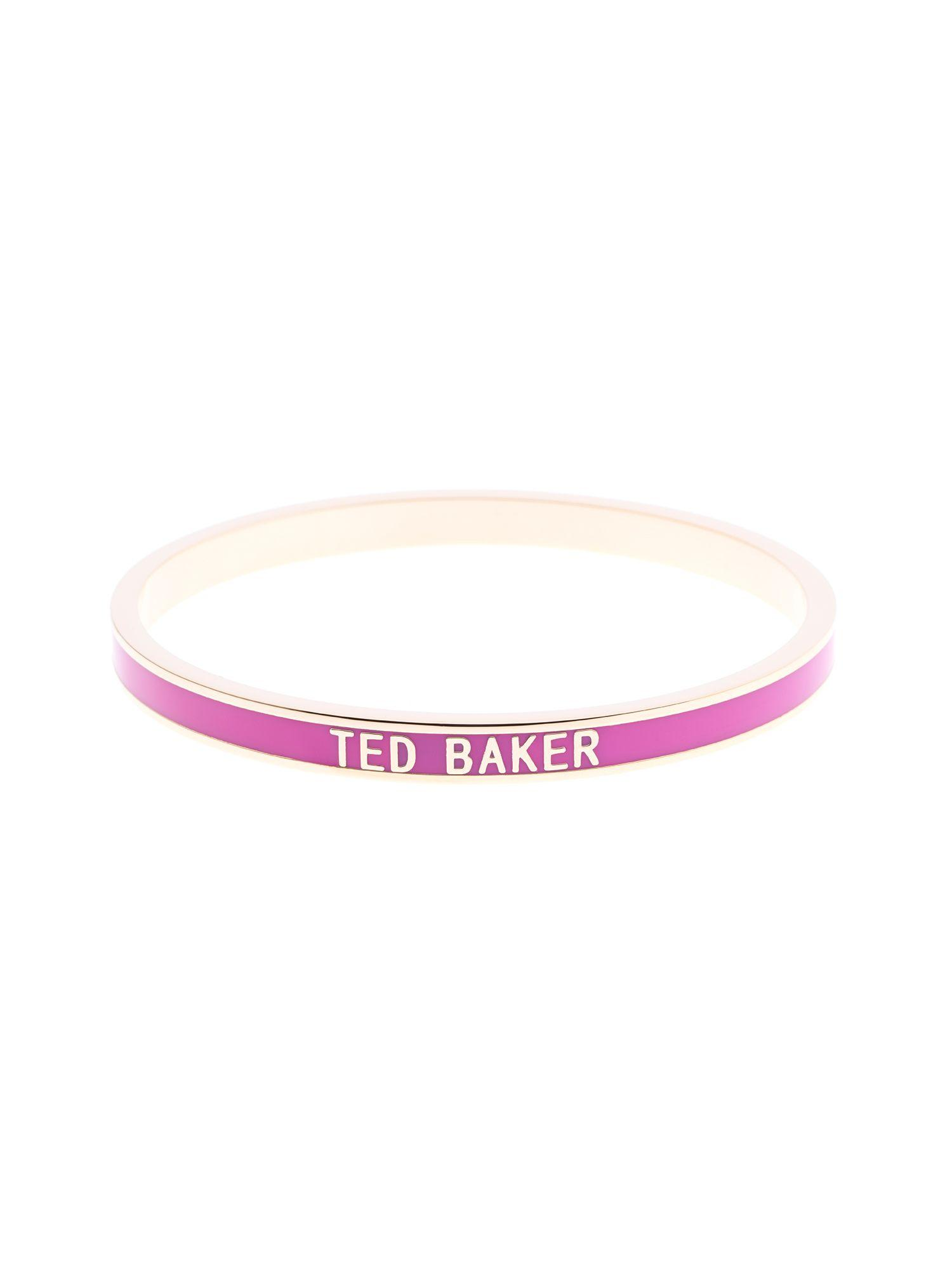 Lyst Ted Baker Clary Pink Narrow Enamel Bangle In Pink