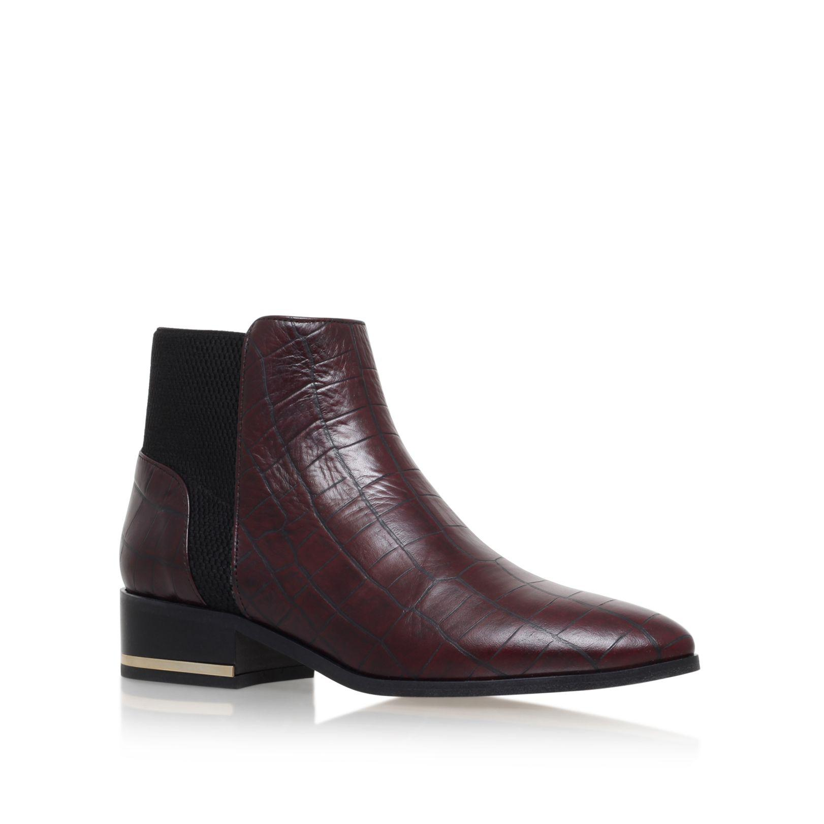 kurt geiger nevern flat pointed toe ankle boots in lyst