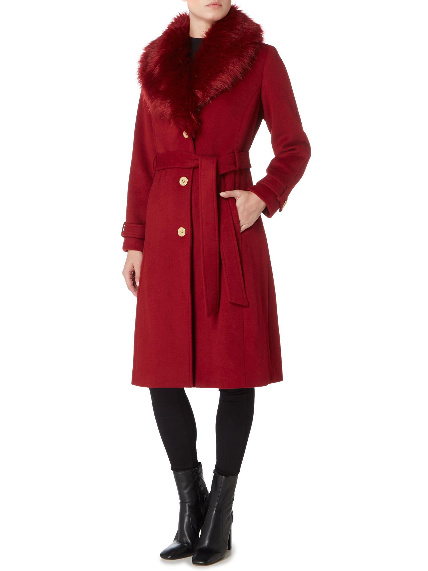 Biba detachable faux fur collar wool mix belted coat in red berry
