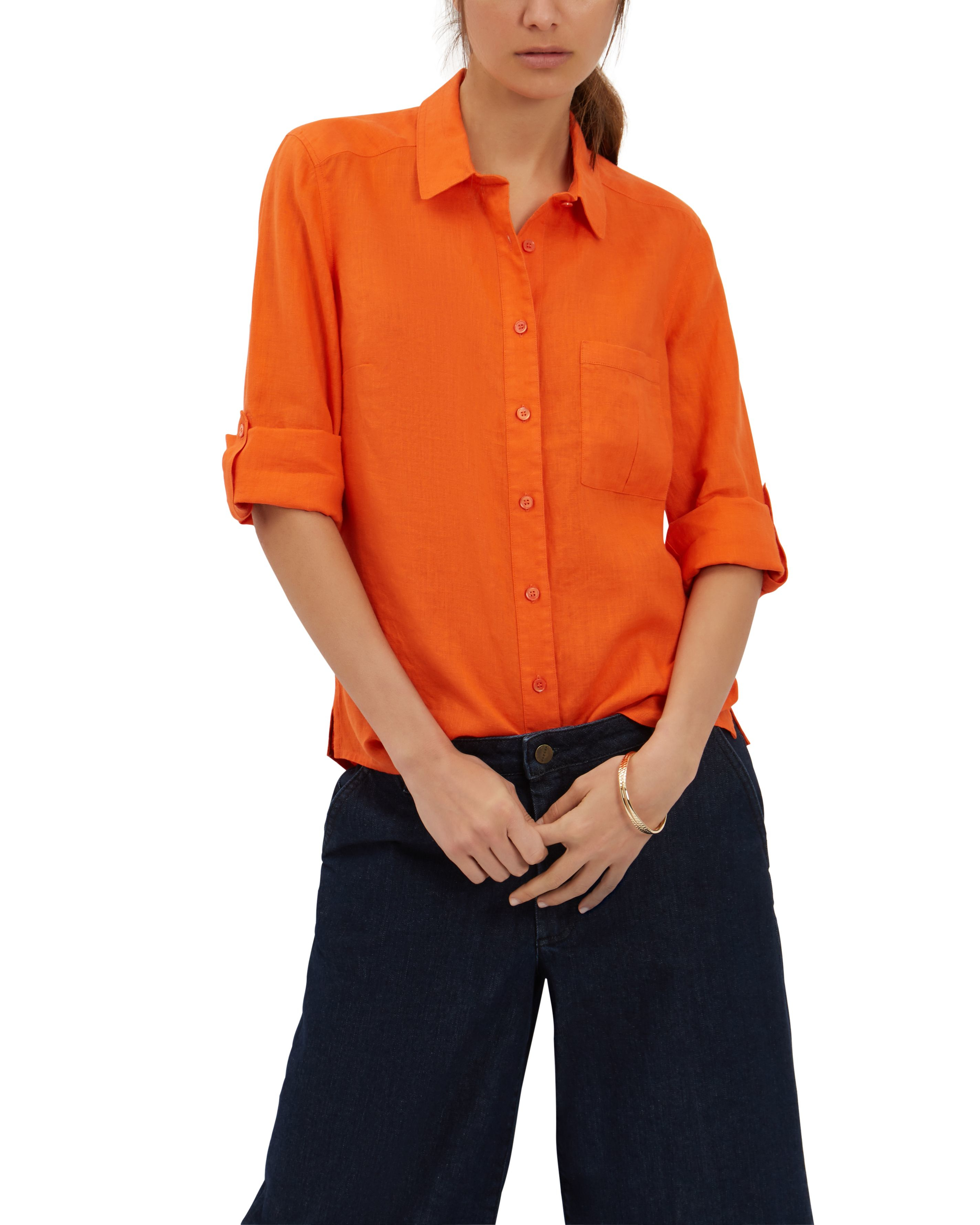 Lyst jaeger linen classic blouse in orange for Quality classic house of fraser