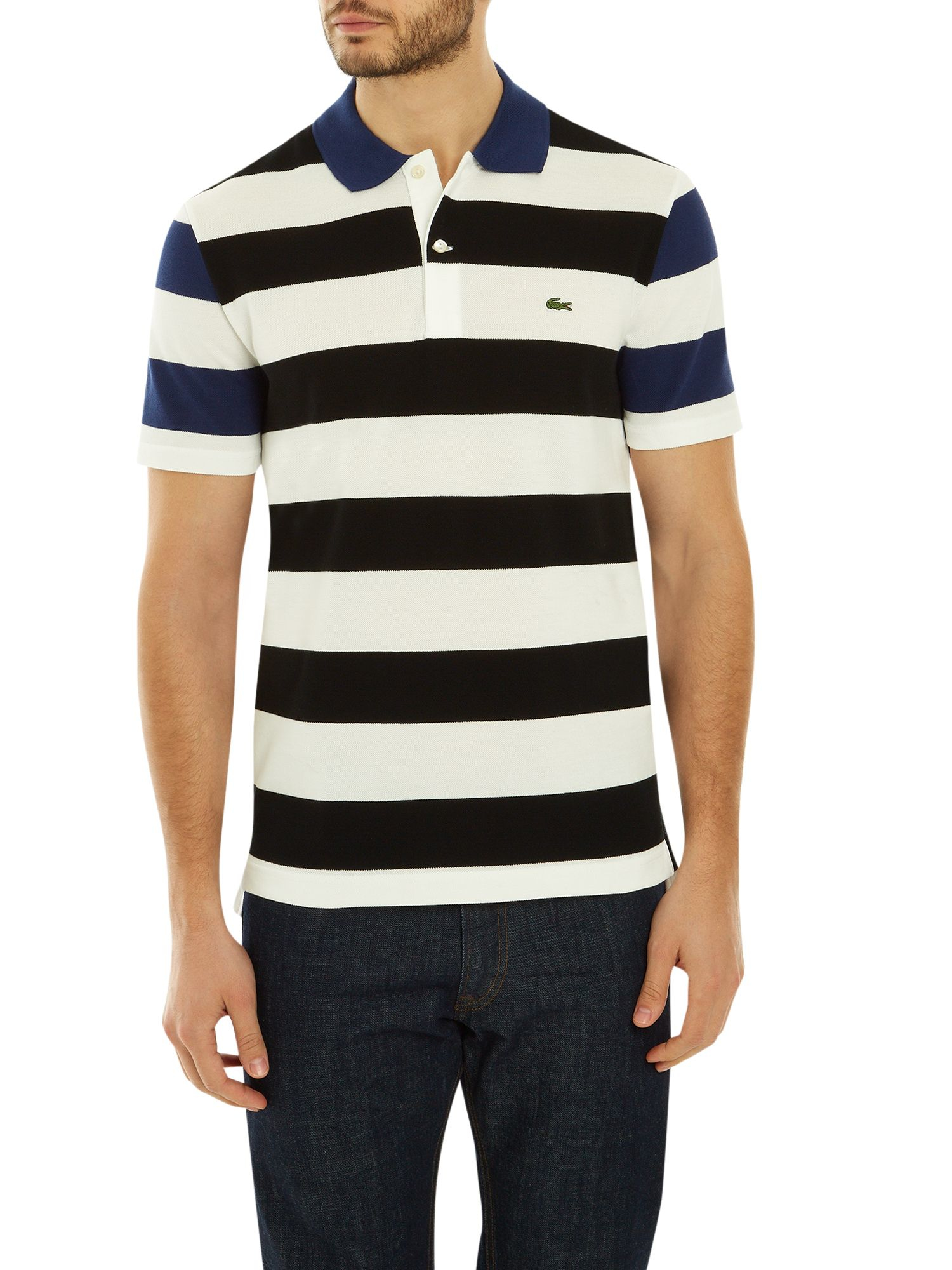 Lacoste striped fine pique polo in black for men lyst for Lacoste stripe pique polo shirt